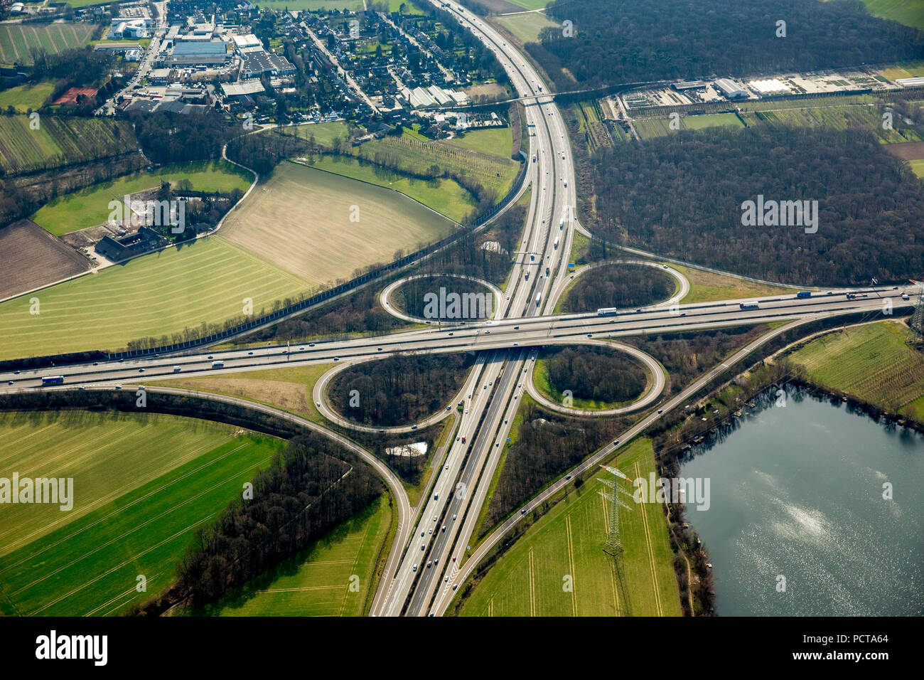 Aerial photo, Meerbusch Autobahnkreuz interchange, A44 and A57 Autobahnen (motorways), Meerbusch, Rhineland - Stock Image
