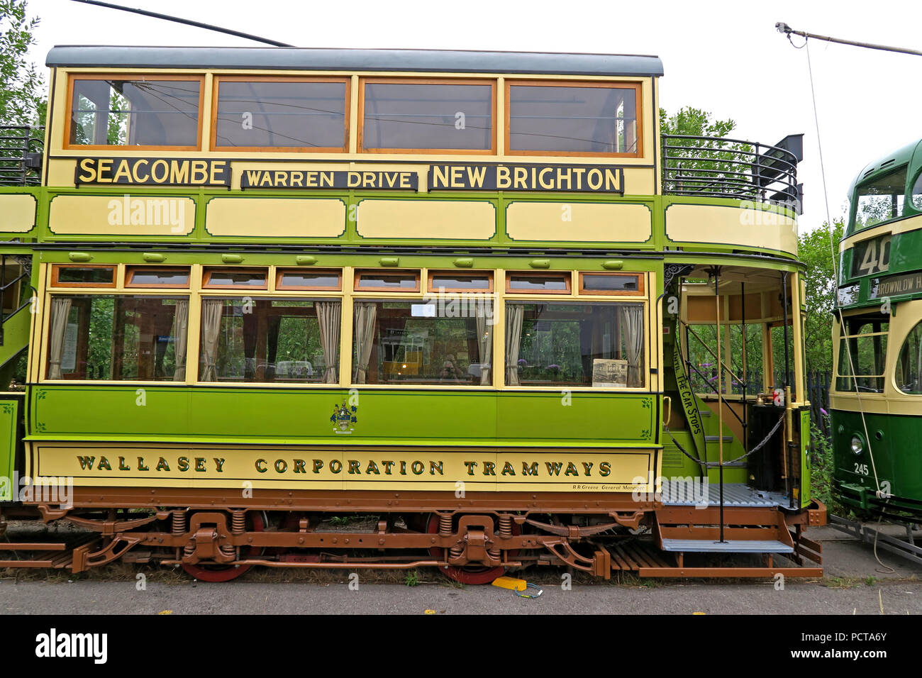 Wirral public Tram, Green Cream, Merseyside, North West England, UK - Stock Image