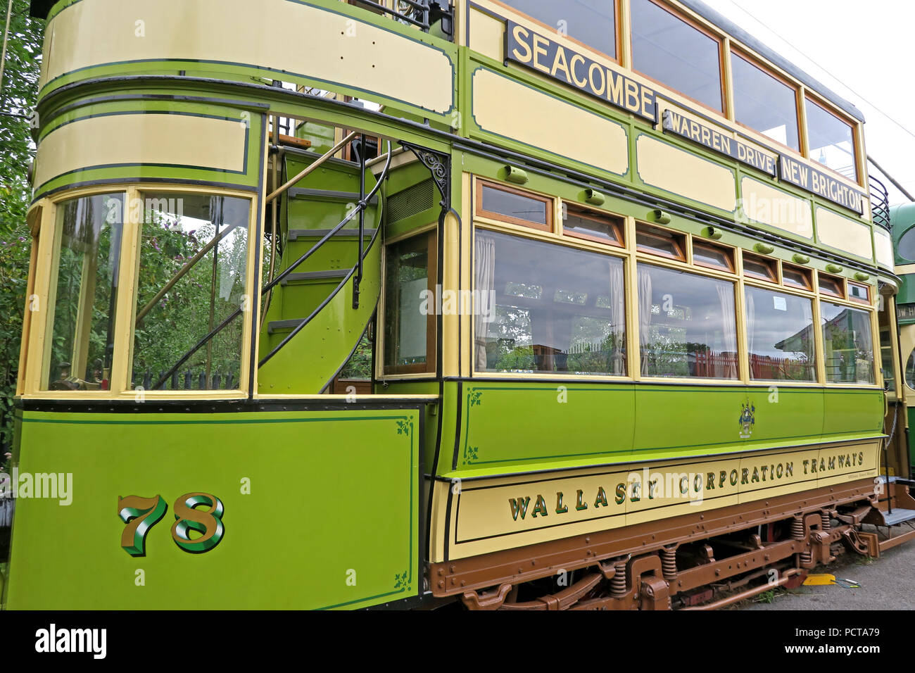 Wirral public Tram, Green Cream 78 Seacombe tram, Merseyside, North West England, UK - Stock Image