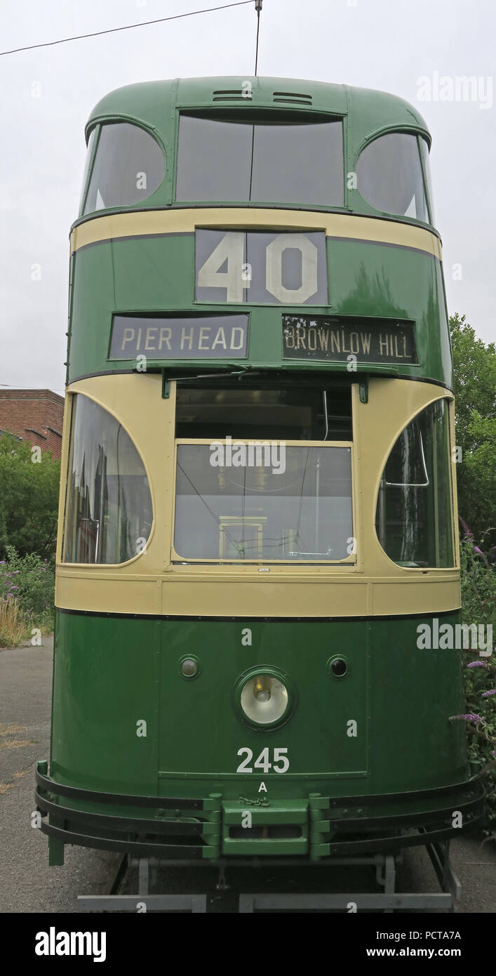 Wirral public Tram, Green Cream Pierhead Brownlow hill tram, Merseyside, North West England, UK - Stock Image