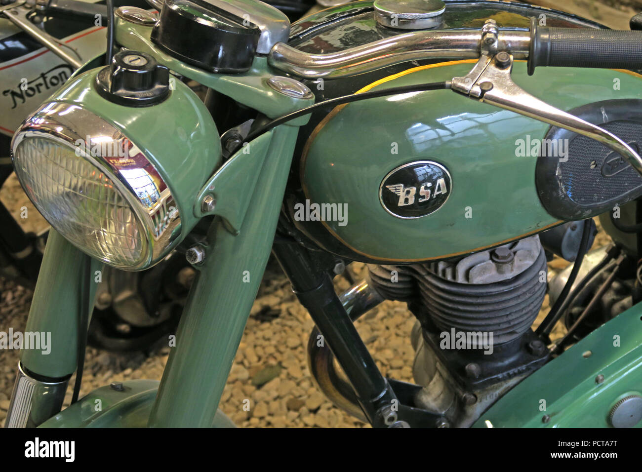 BSA Motor bike in sea green - Stock Image