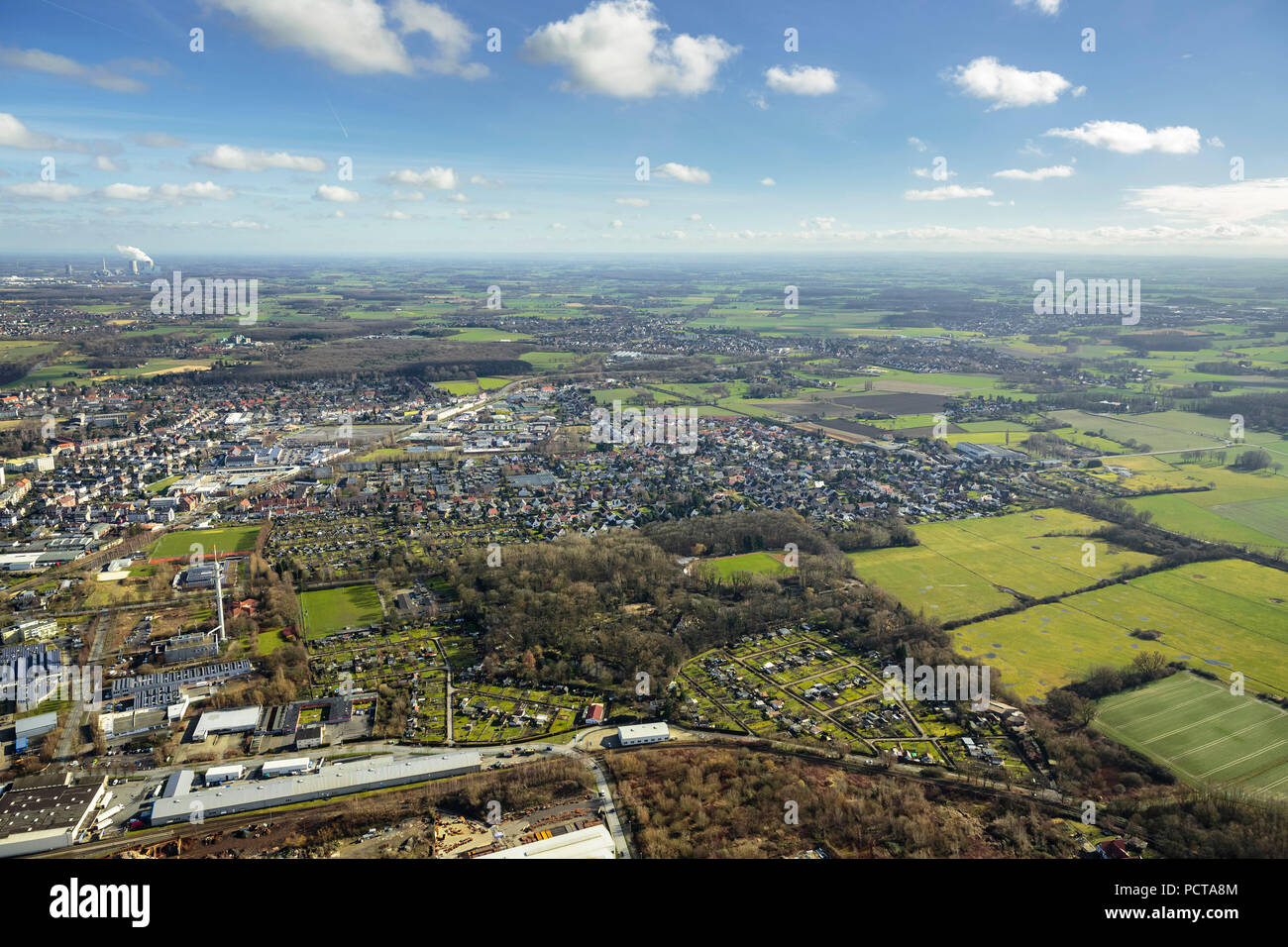 Hamm Zoo, winter pictures, aerial photo, Hamm, Ruhr area - Stock Image