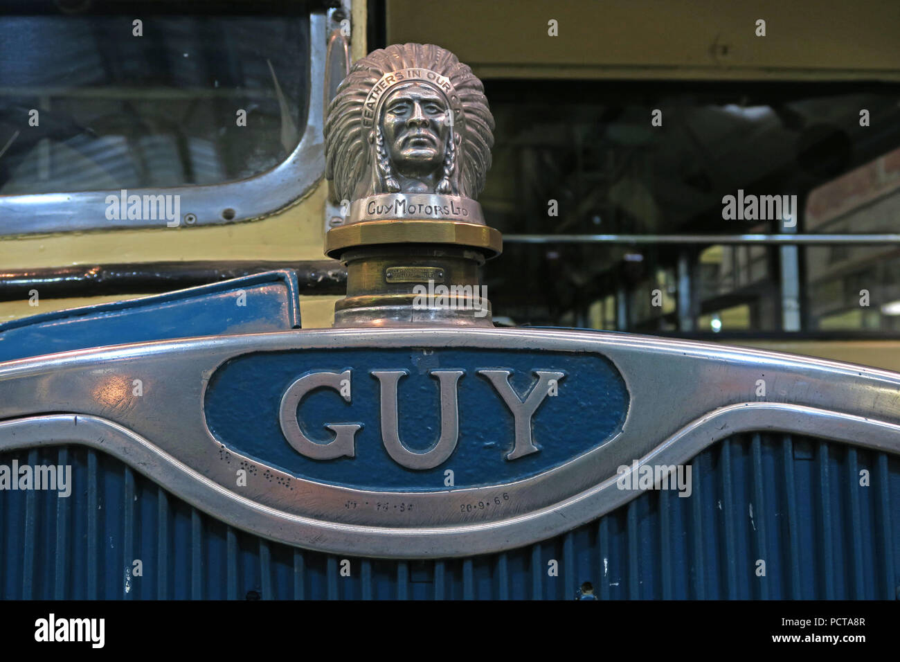 Guy Motors logo with indian chief , Feathers In our cap, - Stock Image
