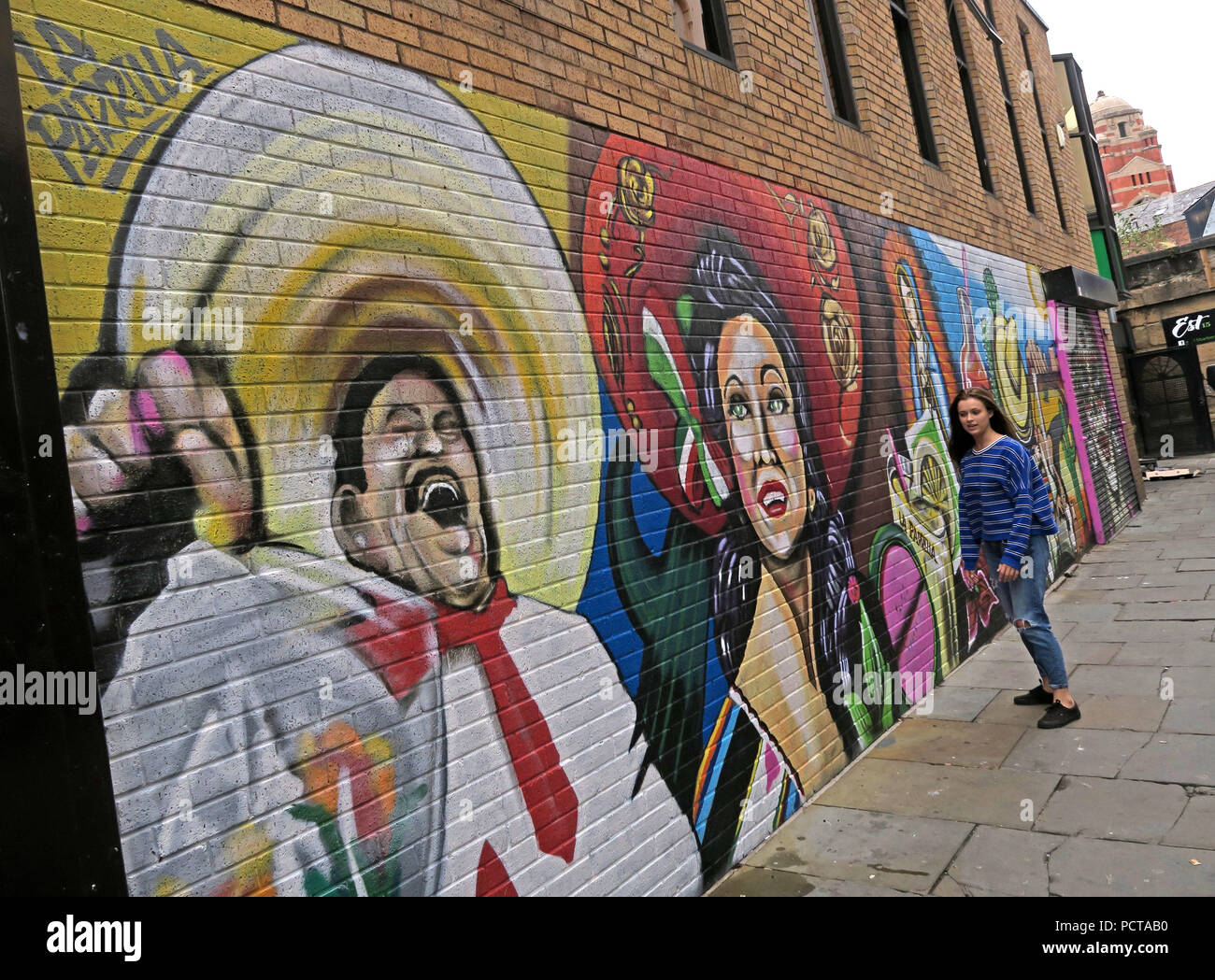 Mexican La Parrilla artwork mural on wall, Bold St, Liverpool, Merseyside, North West England, UK - Stock Image