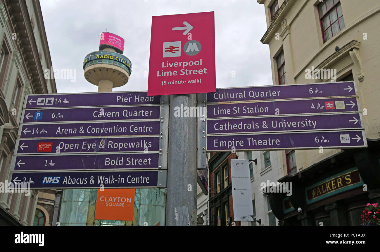 Liverpool tourist signage and Radio City Tower, Church Street, Liverpool, Merseyside, North West England, UK, L1 3AY - Stock Image