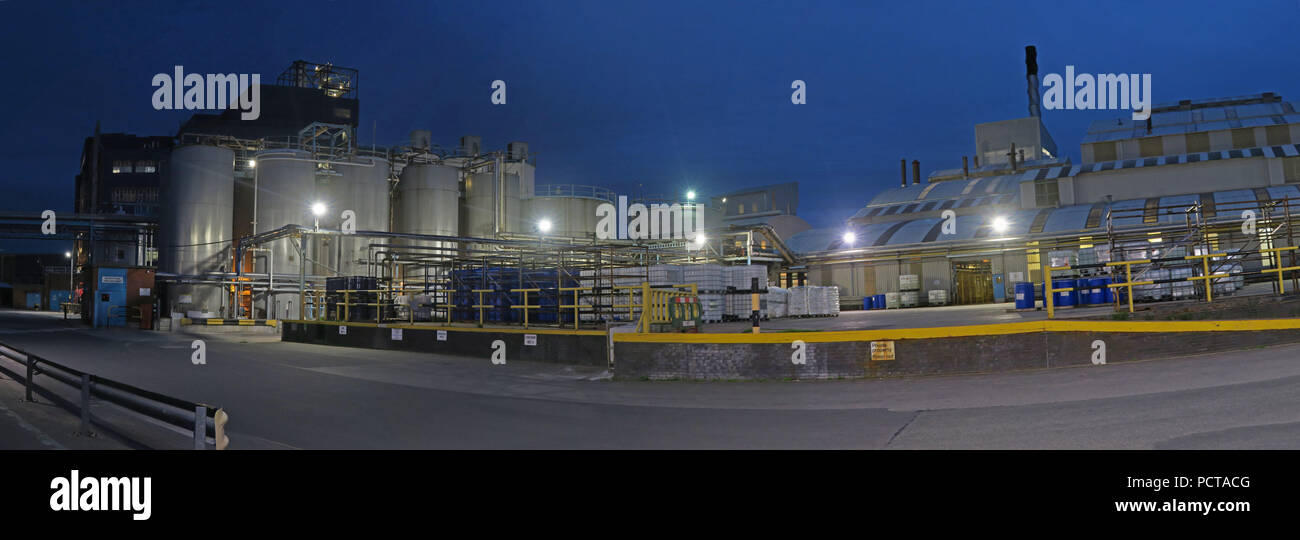 Panorama of Lever brothers (Unilever) factory at dusk, Bank Quay Warrington, Cheshire, North West England, UK , WA1 1NN - Stock Image