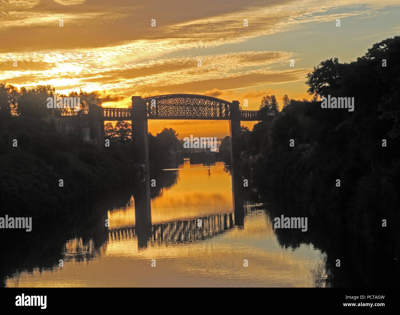 Sunrise at Latchford Locks, MSCC, Warrington, Cheshire, North West England, UK - Stock Image