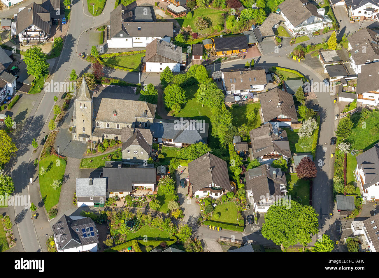 Oberveischede, maybe future gold village 2013, aerial view of Olpe - Stock Image