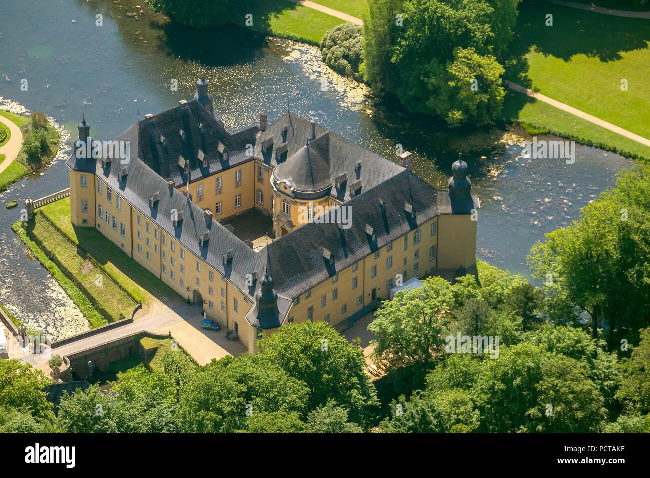 Water castle of Jüchen, Rhineland, two outer baileys, park, English landscape garden, Joseph zu Salm-Reifferscheidt-Dyck, state horticultural show 2002 - Stock Image