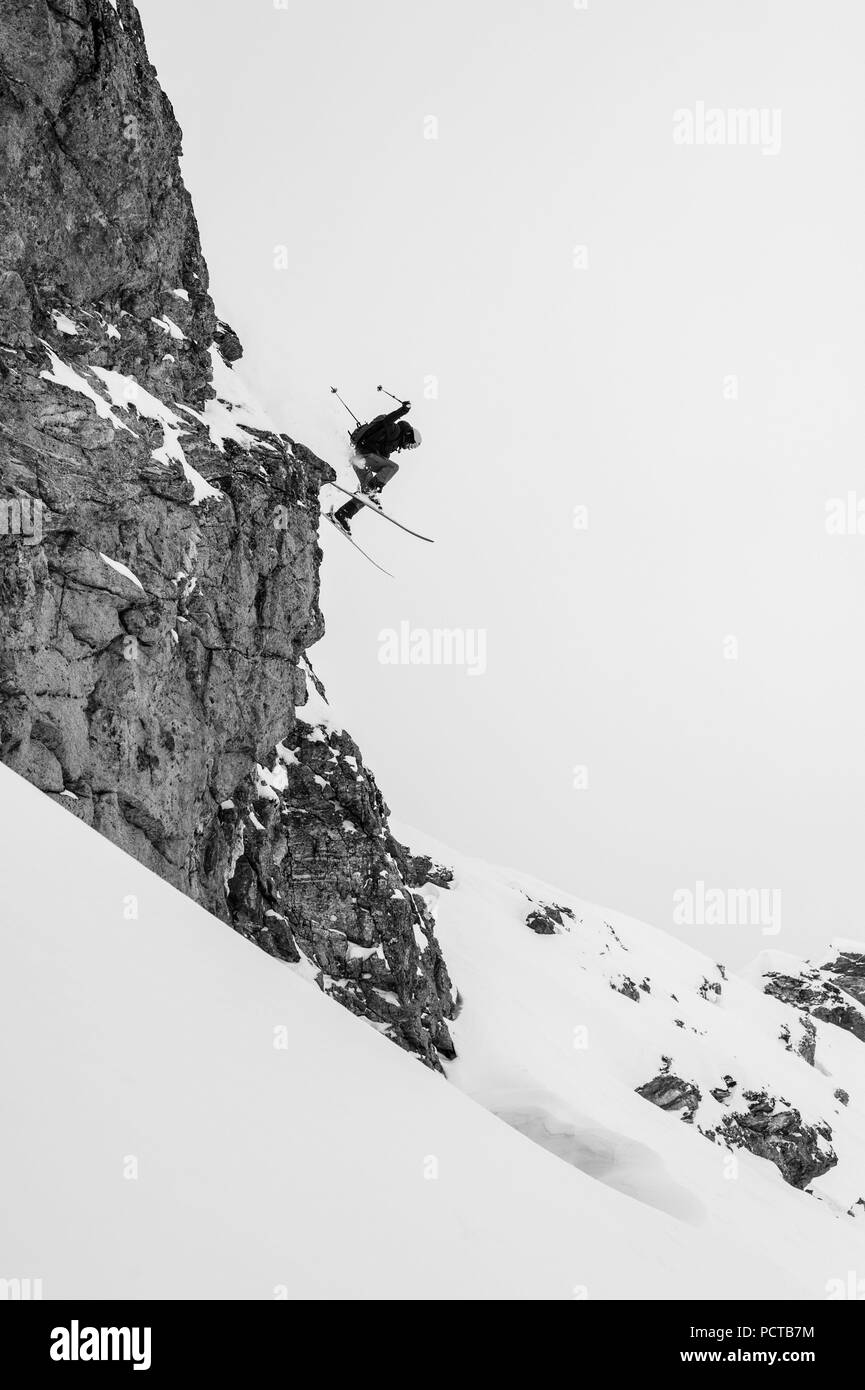Free skier in the Austrian Alps - Stock Image