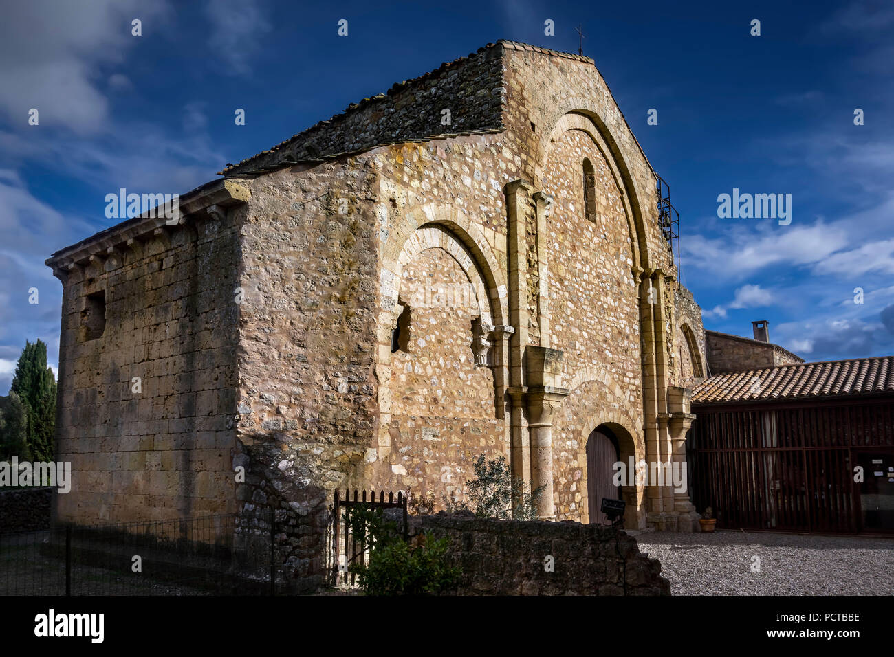 Abbey of the Premonstratensian Order Fontcaude, it is a stage on the St. James pilgrimage route and the last example of Romanesque architecture in the region - Stock Image
