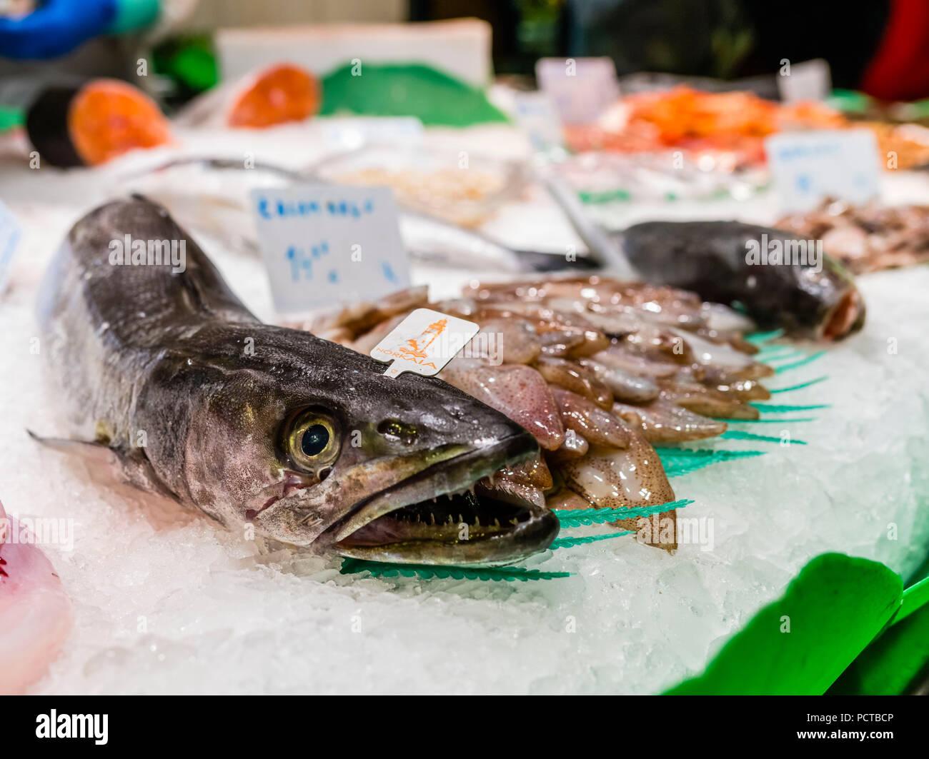 Mercat de Boqueria Market Hall in Barcelona, Fish Stock Photo