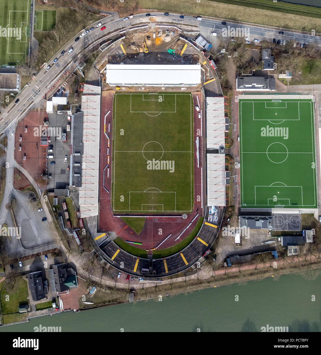 RWO Stadium Niederrhein, Lindnerstraße with new grandstand in Oberhausen, Ruhr area, North Rhine-Westphalia, Germany - Stock Image