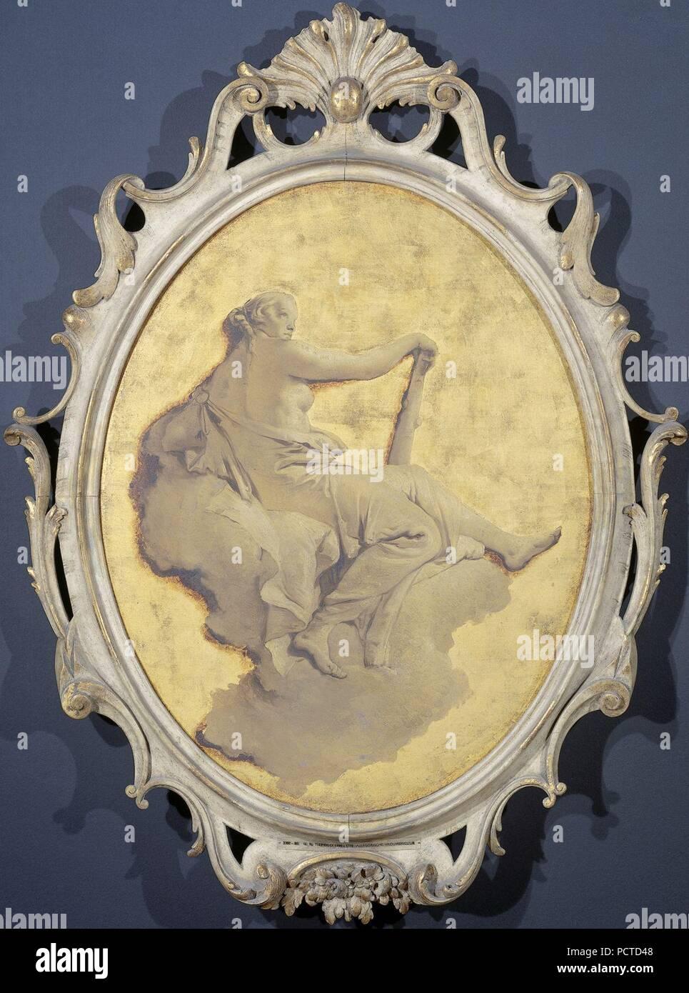 Allegorische vrouwenfiguur met een knots (wellicht Kracht) - Stock Image