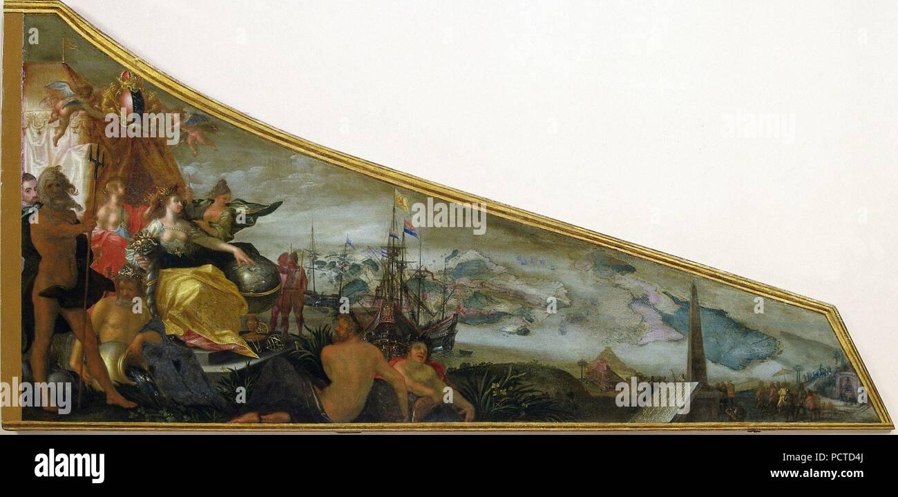 Allegorische voorstelling van Amsterdam als centrum van de wereldhandel - Stock Image