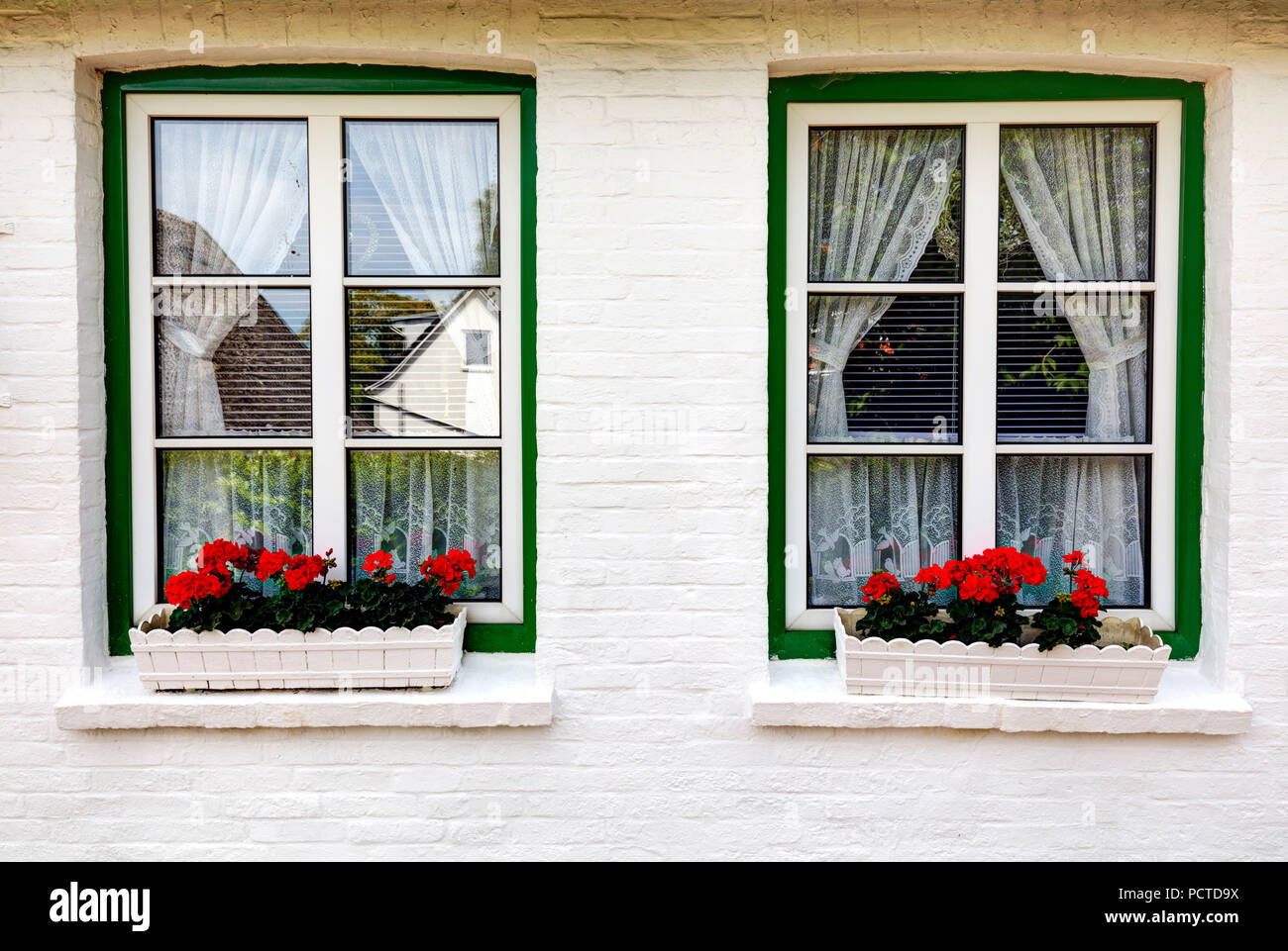 Altes Land, House Facade, Niederelbe, Lower Saxony, Northern Germany, Germany, Europe - Stock Image