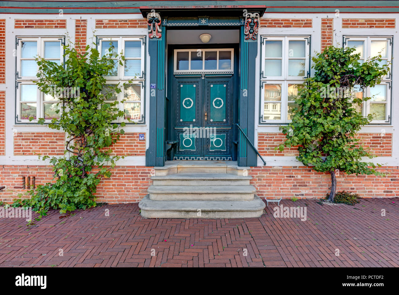 House, Facade, Stade, Altes Land, Niederelbe, Lower Saxony, Northern Germany, Germany, Europe - Stock Image