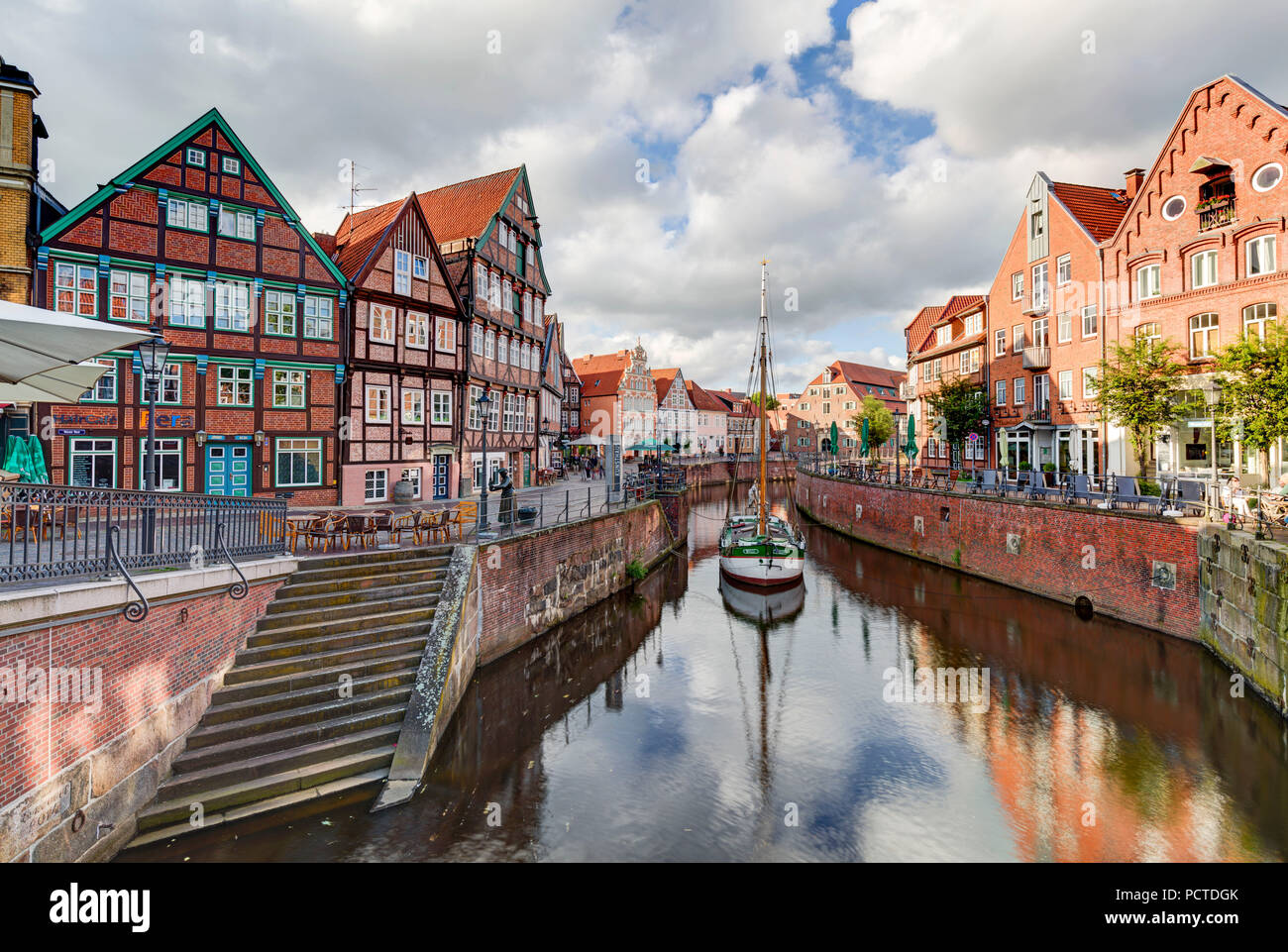 Hanse harbour, half-timbered houses, Stade, Altes Land, Niederelbe, Lower Saxony, Northern Germany, Germany, Europe - Stock Image