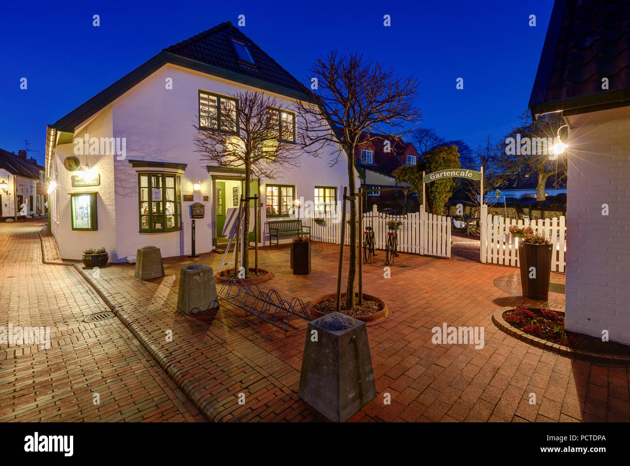 Blue hour, Greetsiel, Hotel, Restaurant Witthus, Facade, East Frisia, Lower Saxony, Germany, Stock Photo