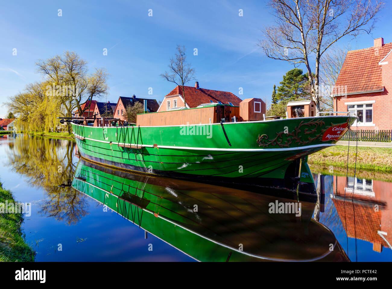 Museum ship, Catharina von Papenburg, in the Wiek, spring, Papenburg, Emsland, Lower Saxony, Germany, - Stock Image