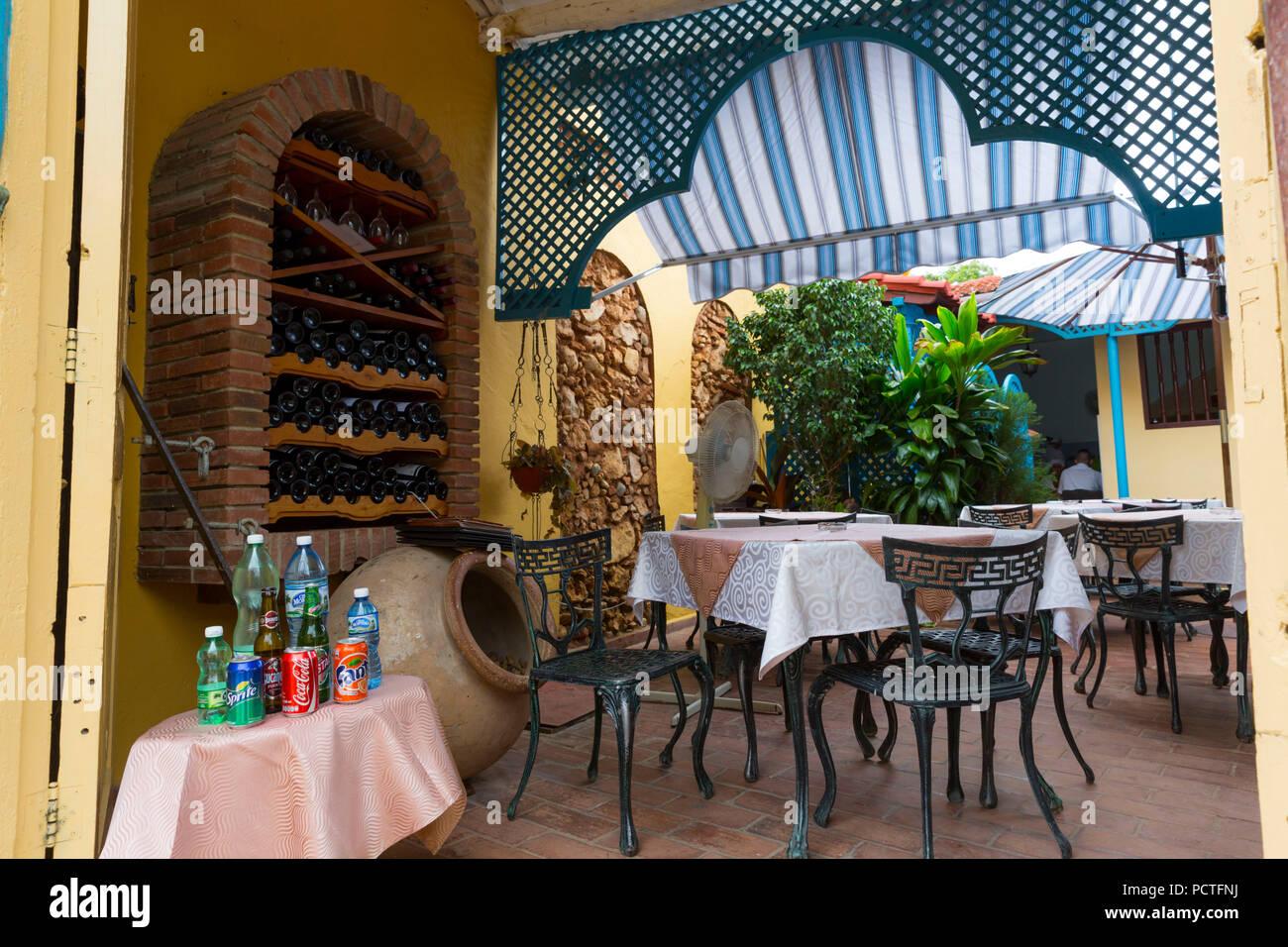 Restaurant Los Conspiradores, Trinidad, Sancti Spiritus Province, Cuba, Republic of Cuba, Greater Antilles, Caribbean Stock Photo