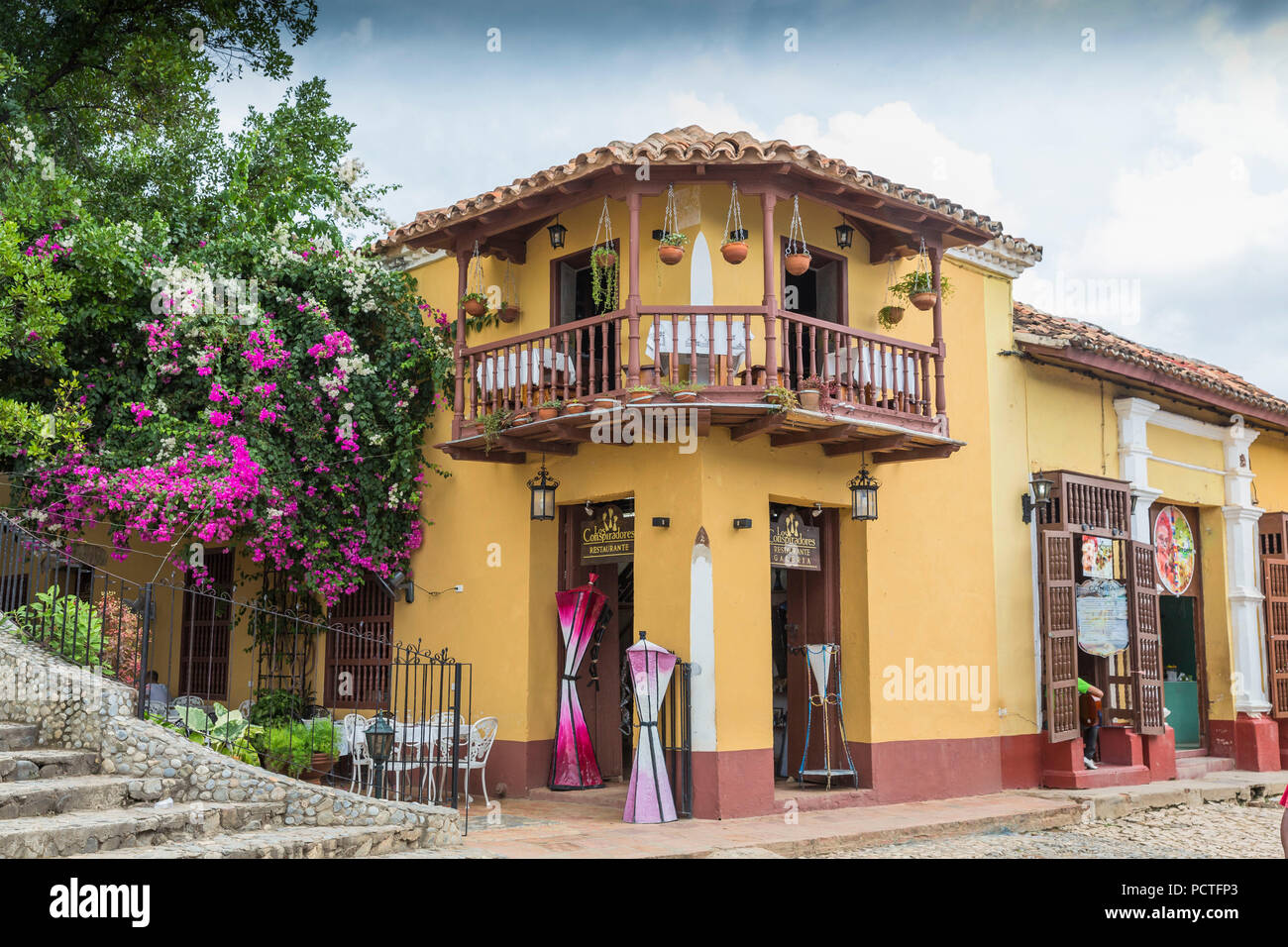 Restaurant Los Conspiradores, Trinidad, Sancti Spiritus Province, Cuba, Republic of Cuba, Greater Antilles, Caribbean - Stock Image