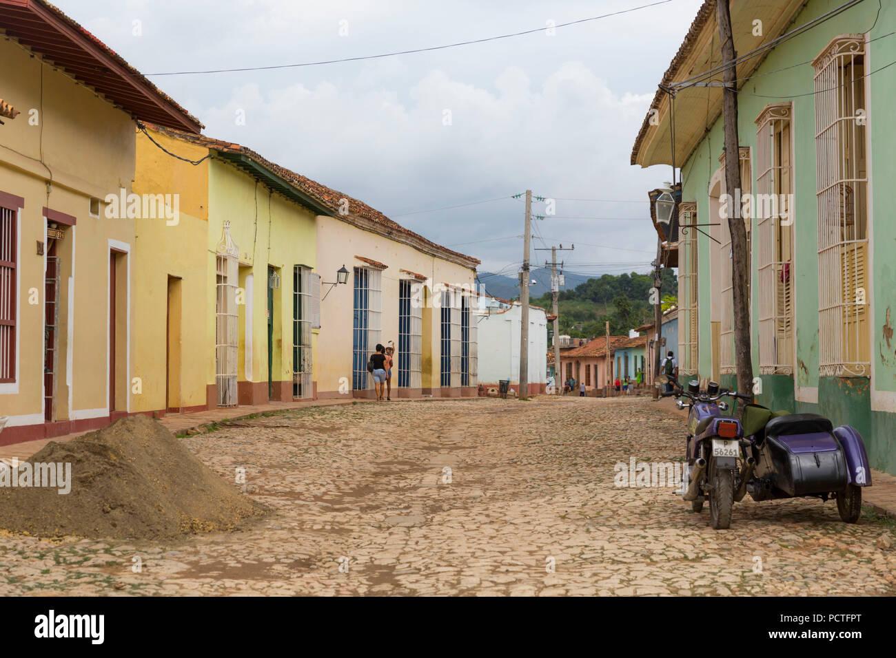 Typical street scene, Trinidad, Province Sancti Spiritus, Cuba, Republic of Cuba, Greater Antilles, Caribbean - Stock Image