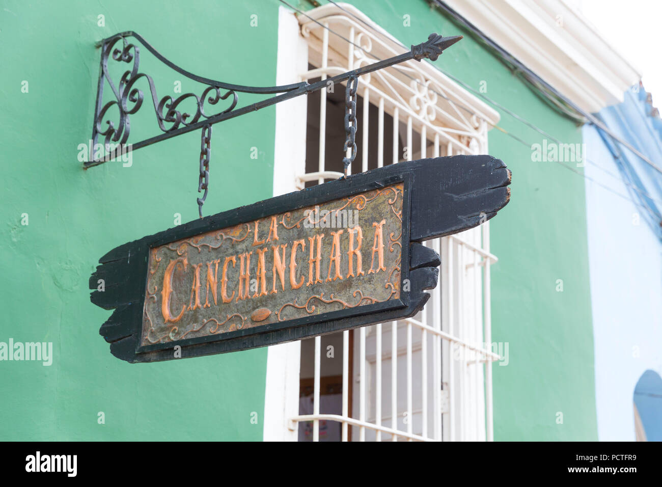La Canchanchara sign, Cocktail Bar, Trinidad, Sancti Spiritus Province, Cuba, Cuba, Greater Antilles, Caribbean Stock Photo