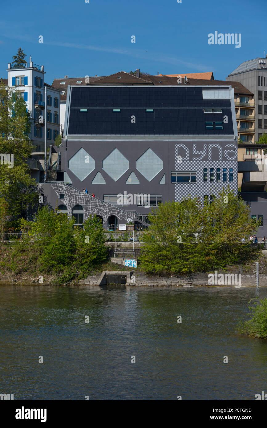 Dynamo youth culture house at Limmat, Wasserwerkstrasse, Zurich, Canton of Zurich, Switzerland - Stock Image