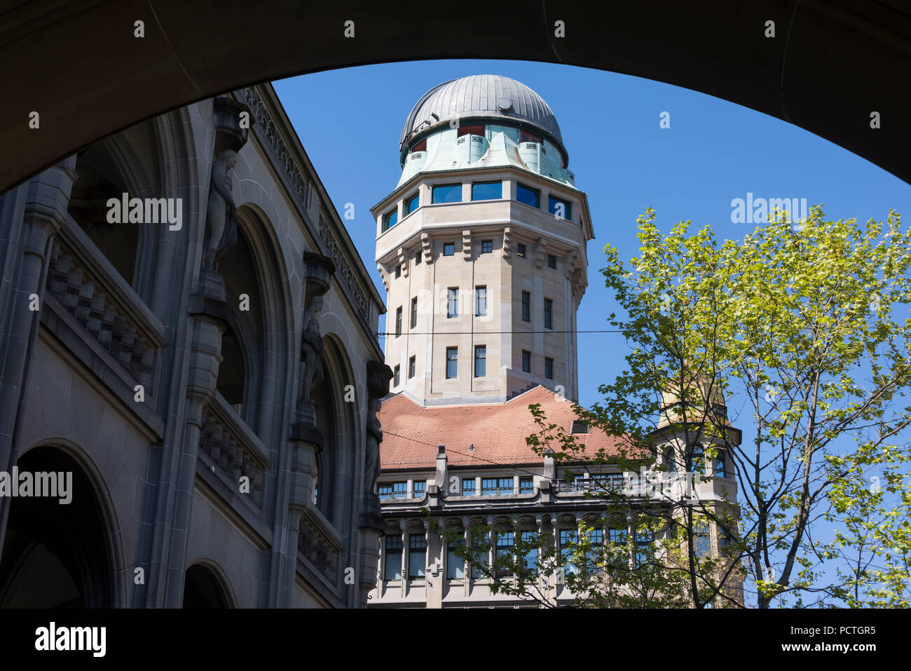 View on the observatory Urania, Bahnhofstrasse, District 1, Zurich, Canton Zurich, Switzerland - Stock Image