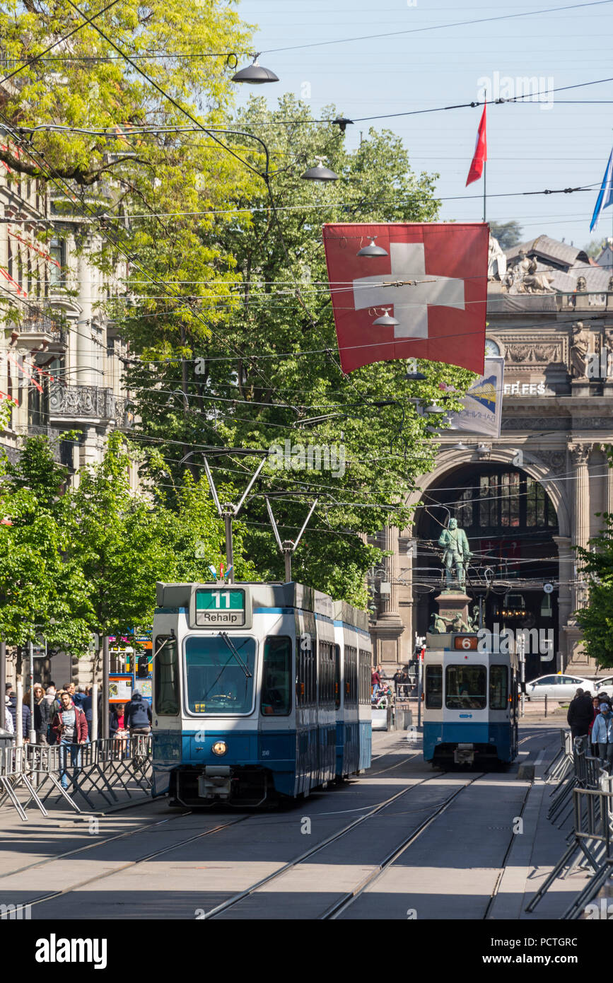 Tram in the Bahnhofstrasse in front of the main station, old town, Zurich, Canton of Zurich, Switzerland - Stock Image