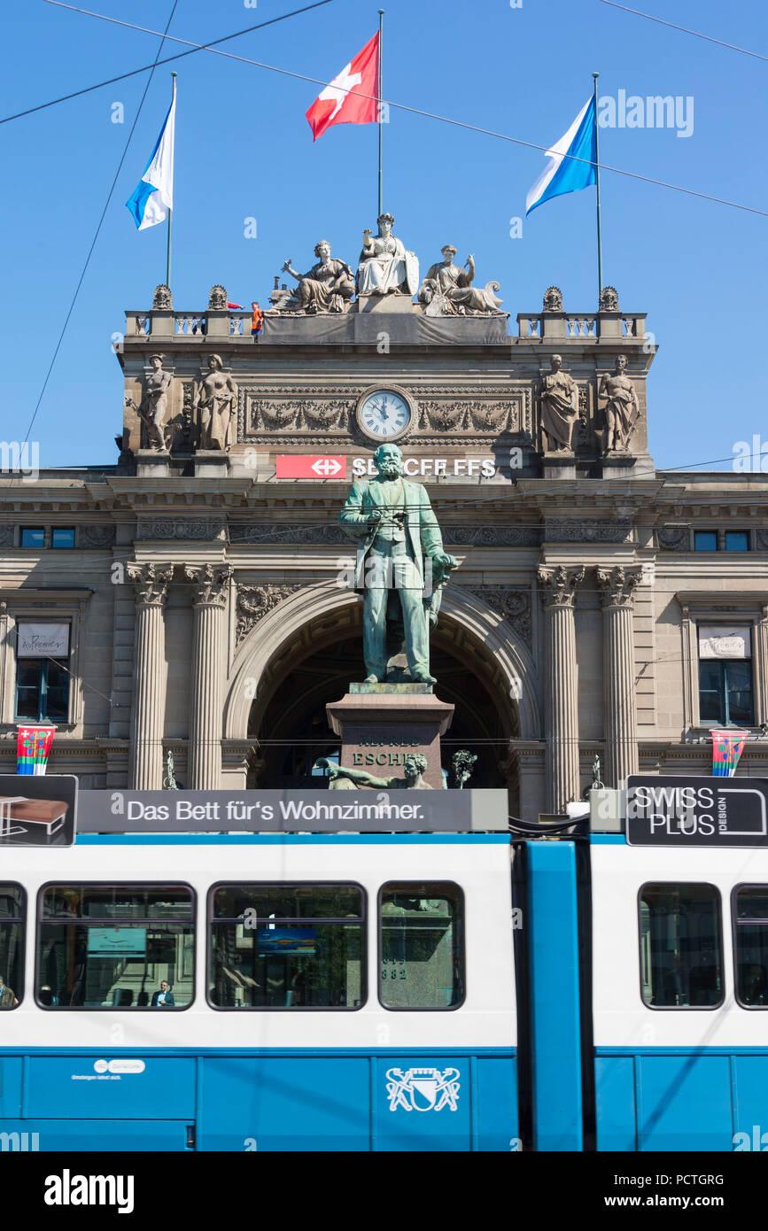 Tram in the Bahnhofstrasse in front of Zurich main station, Bahnhofsplatz, District 1, Zurich, Canton Zurich, Switzerland - Stock Image