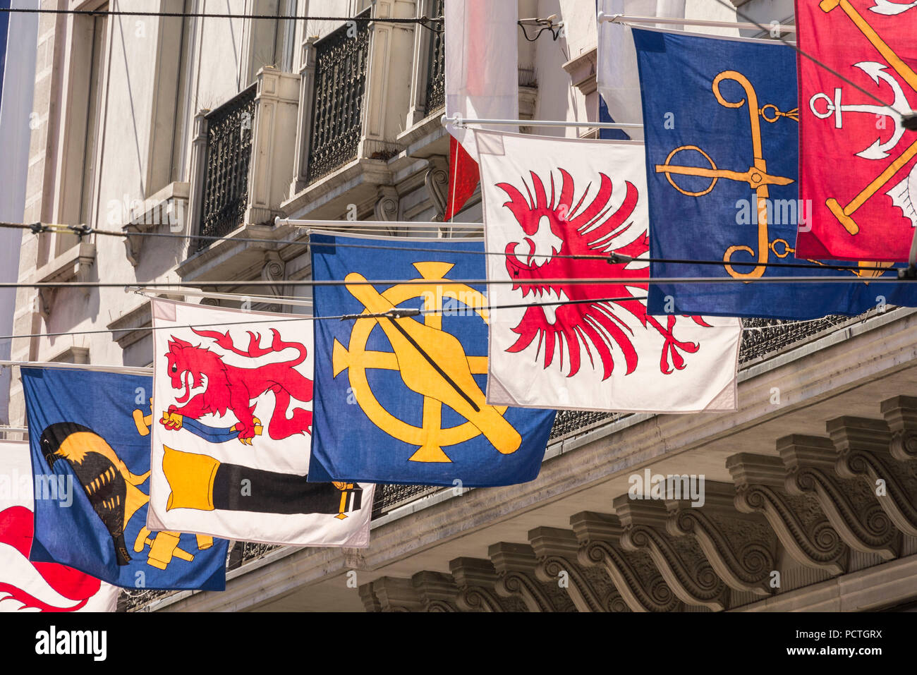 Flags in the Bahnhofstrasse, old town, Zurich, Canton of Zurich, Switzerland - Stock Image