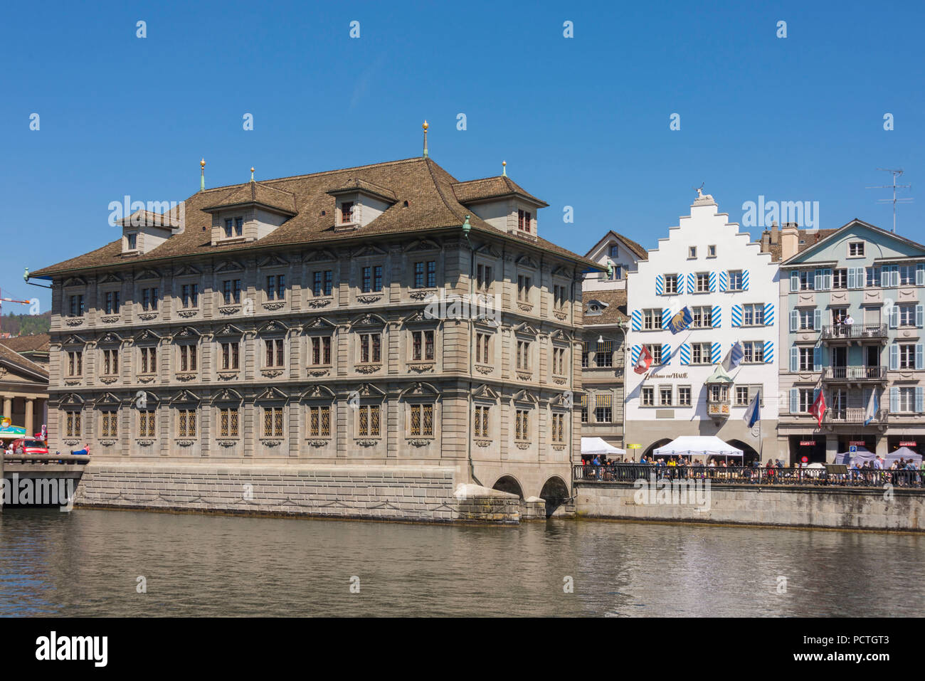 Limmatquai with Town Hall, old town, Zurich, Canton of Zurich, Switzerland - Stock Image