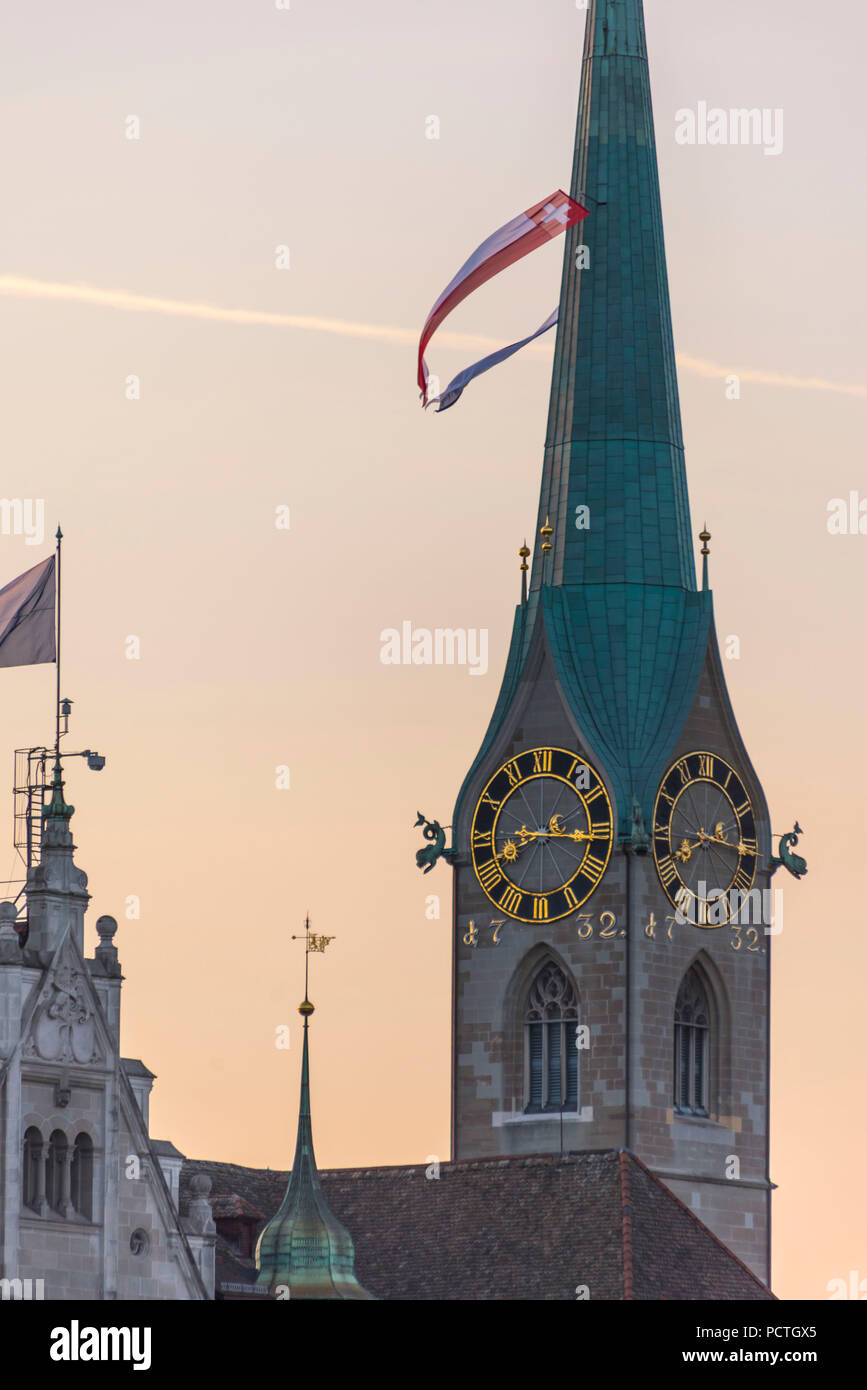 View of church tower of the Fraumünster, old town, Zurich, Canton of Zurich, Switzerland - Stock Image