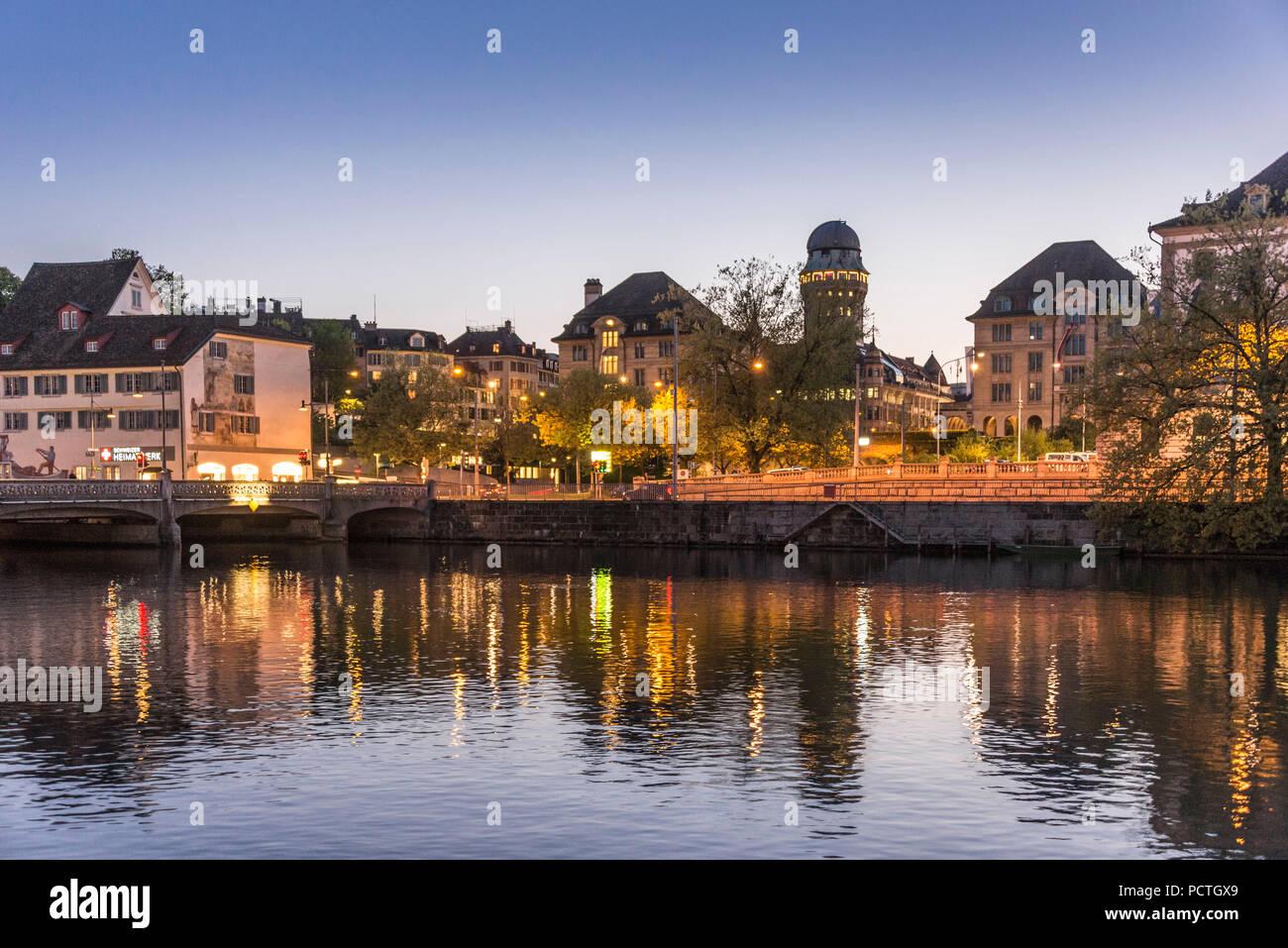 Evening mood at the Limmatquai, old town, Zurich, Canton of Zurich, Switzerland - Stock Image