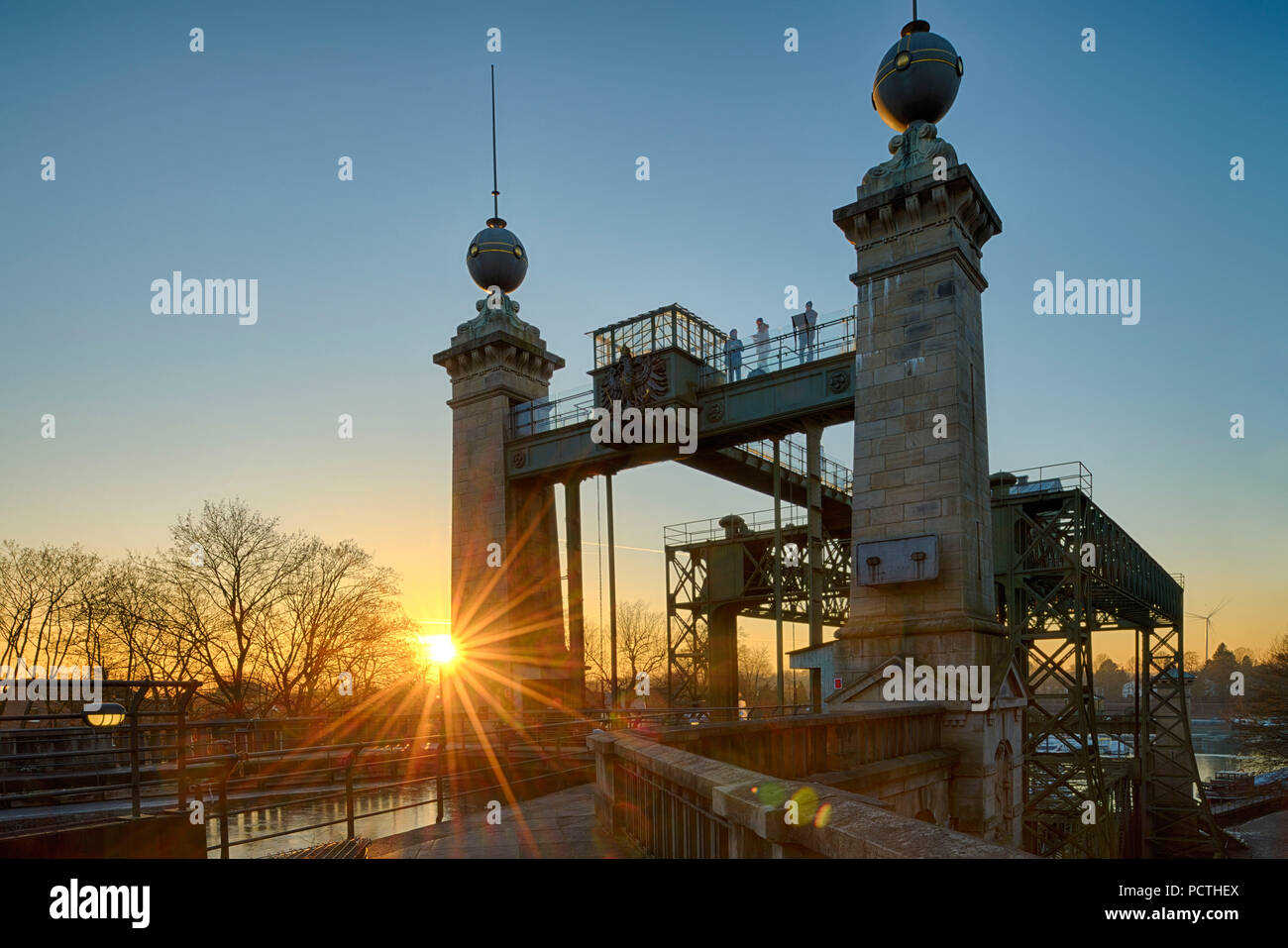 LWL - Industrial Museum, Henrichenburg boat lift on the Dortmund Ems Canal in sunset, Waltrop - Oberwiese, North Rhine-Westphalia, Germany Stock Photo