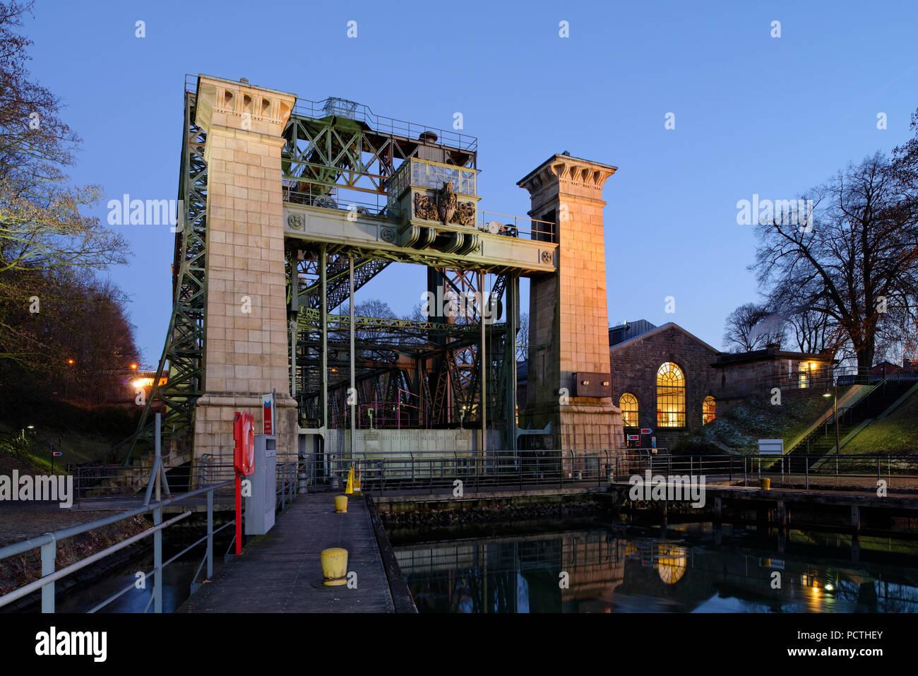 LWL - Industrial Museum, Henrichenburg boat lift on the Dortmund-Ems Canal in evening light, Waltrop - Oberwiese, North Rhine-Westphalia, Germany Stock Photo