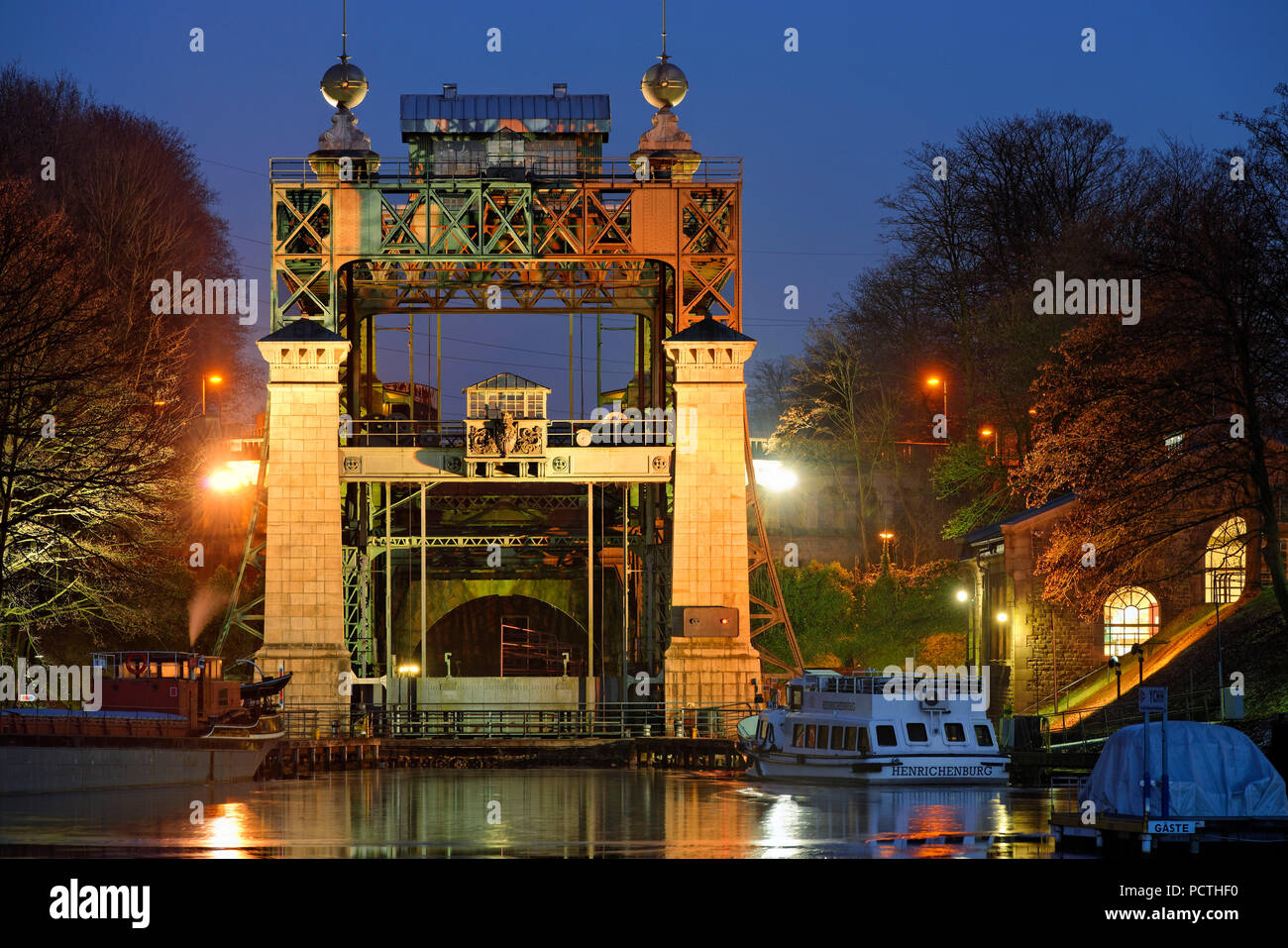 LWL - Industrial Museum, Henrichenburg boat lift on the Dortmund-Ems Canal in evening light, Waltrop - Oberwiese, North Rhine-Westphalia, Germany - Stock Image