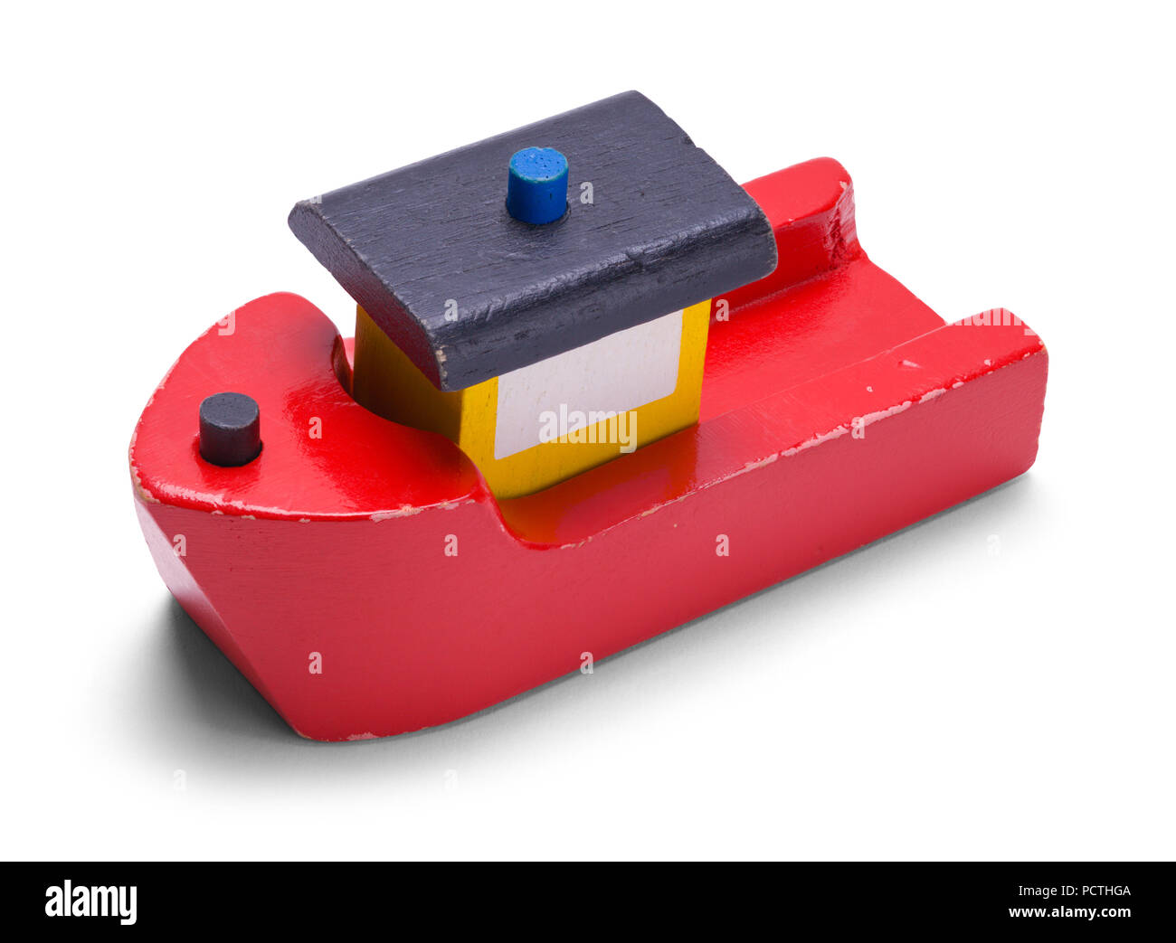 Old Wood Toy Boat Isolated on White Background. - Stock Image