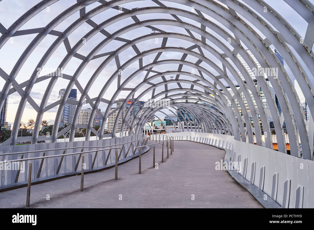 Spider bridge (Webb steel footbridge), Docklands, Docklands, Melbourne, Victoria, Australia, Oceania - Stock Image