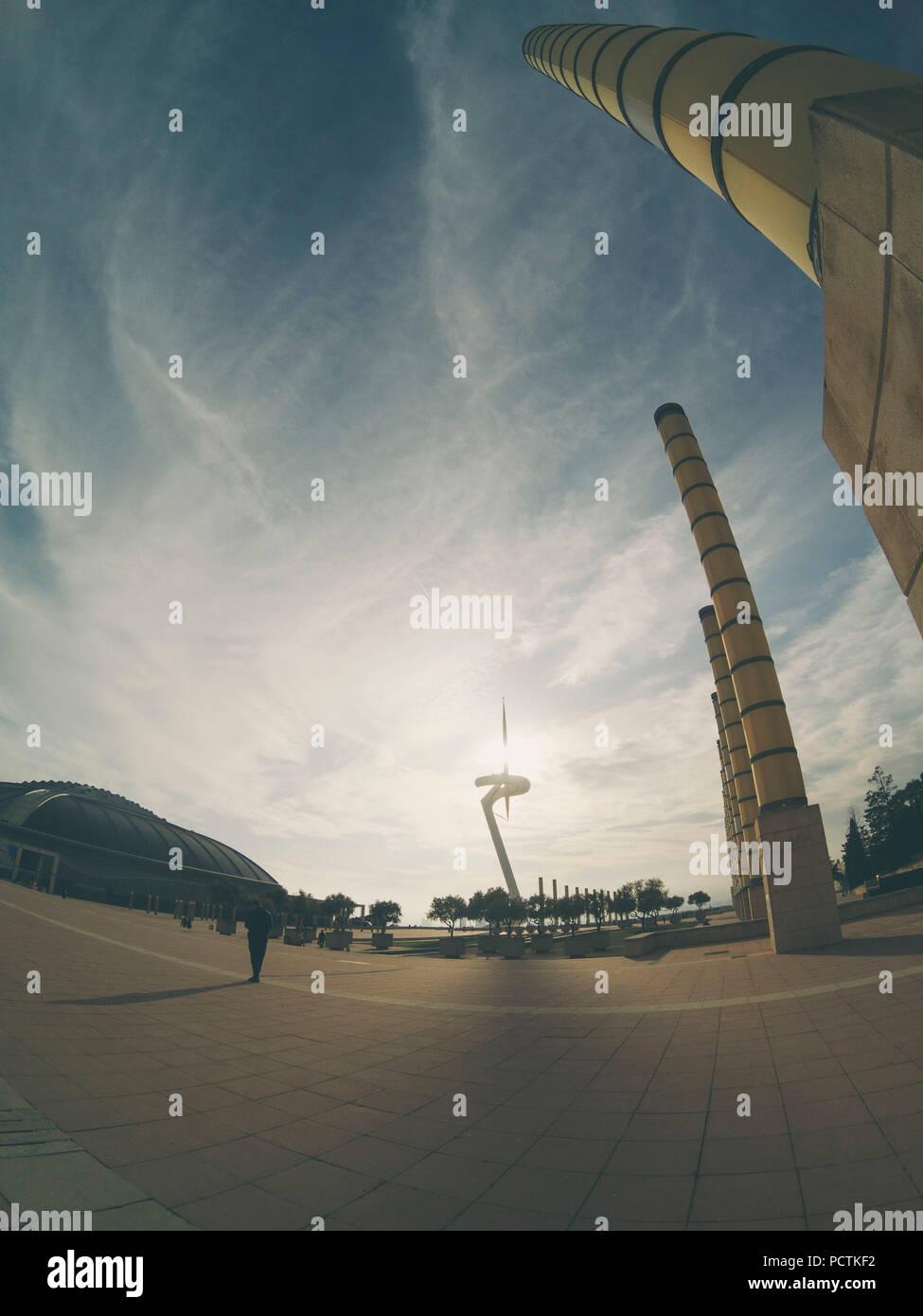 Olympic stadium LLuis Companys in Barcelona - Stock Image