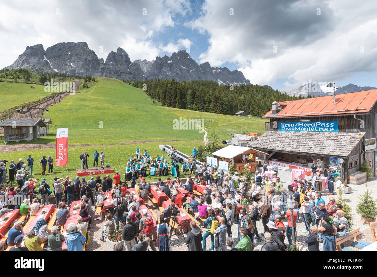 9 june 2018 - inauguration ceremony of dolomites without borders - dolomiten ohne grenzen at the Kreuz Berg pass, Sexten, South Tyrol - Stock Image