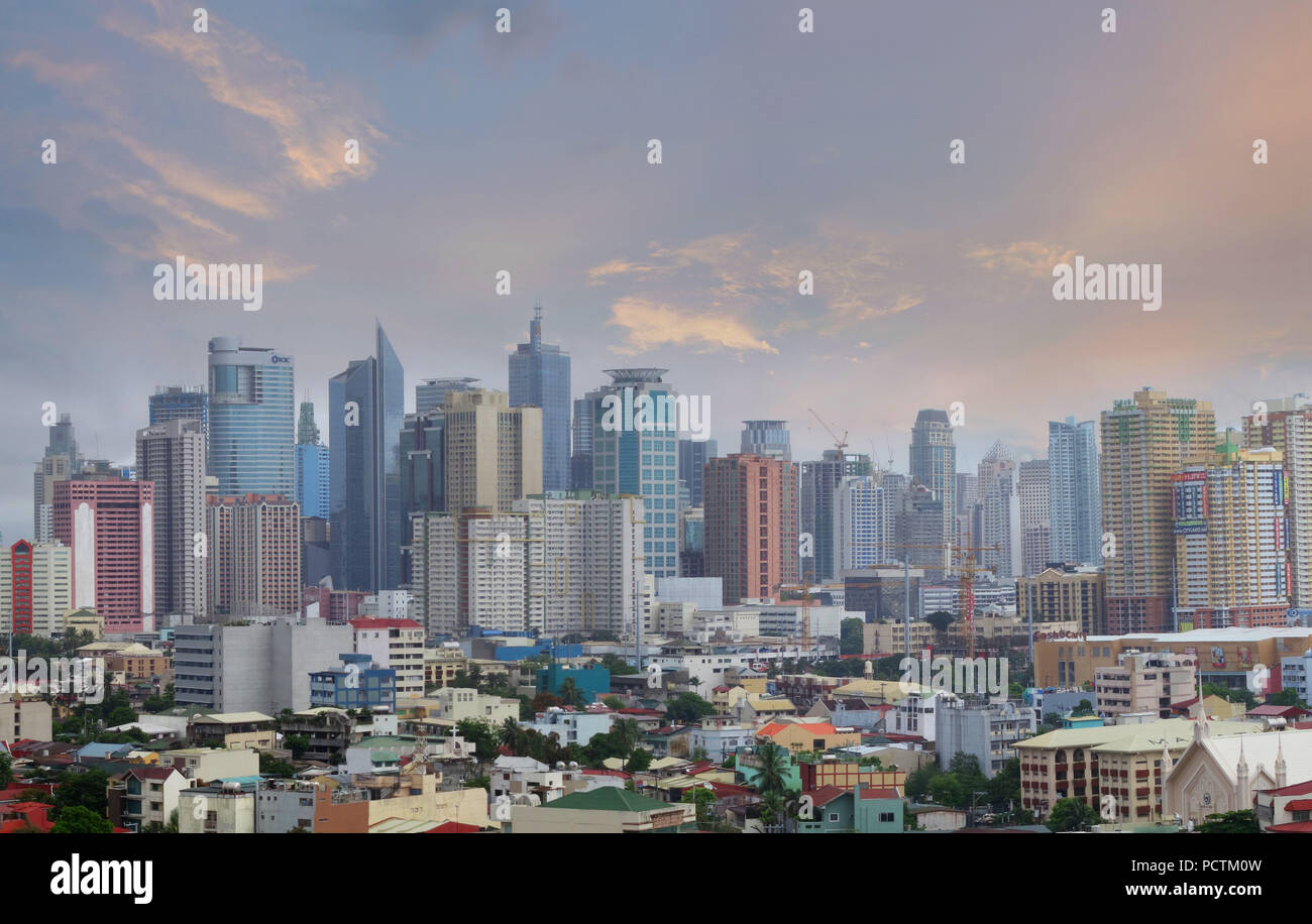 Skyline of Makati City, Manila, Luzon Island, Philippines - Stock Image