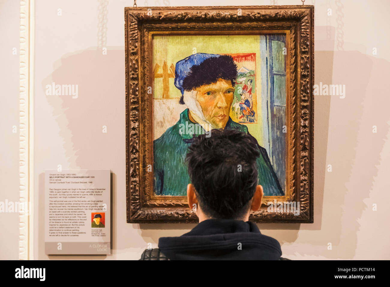 Painting titled 'Self Portrait With A Bandaged Ear' by Vincent van Gogh dated 1889 - Stock Image