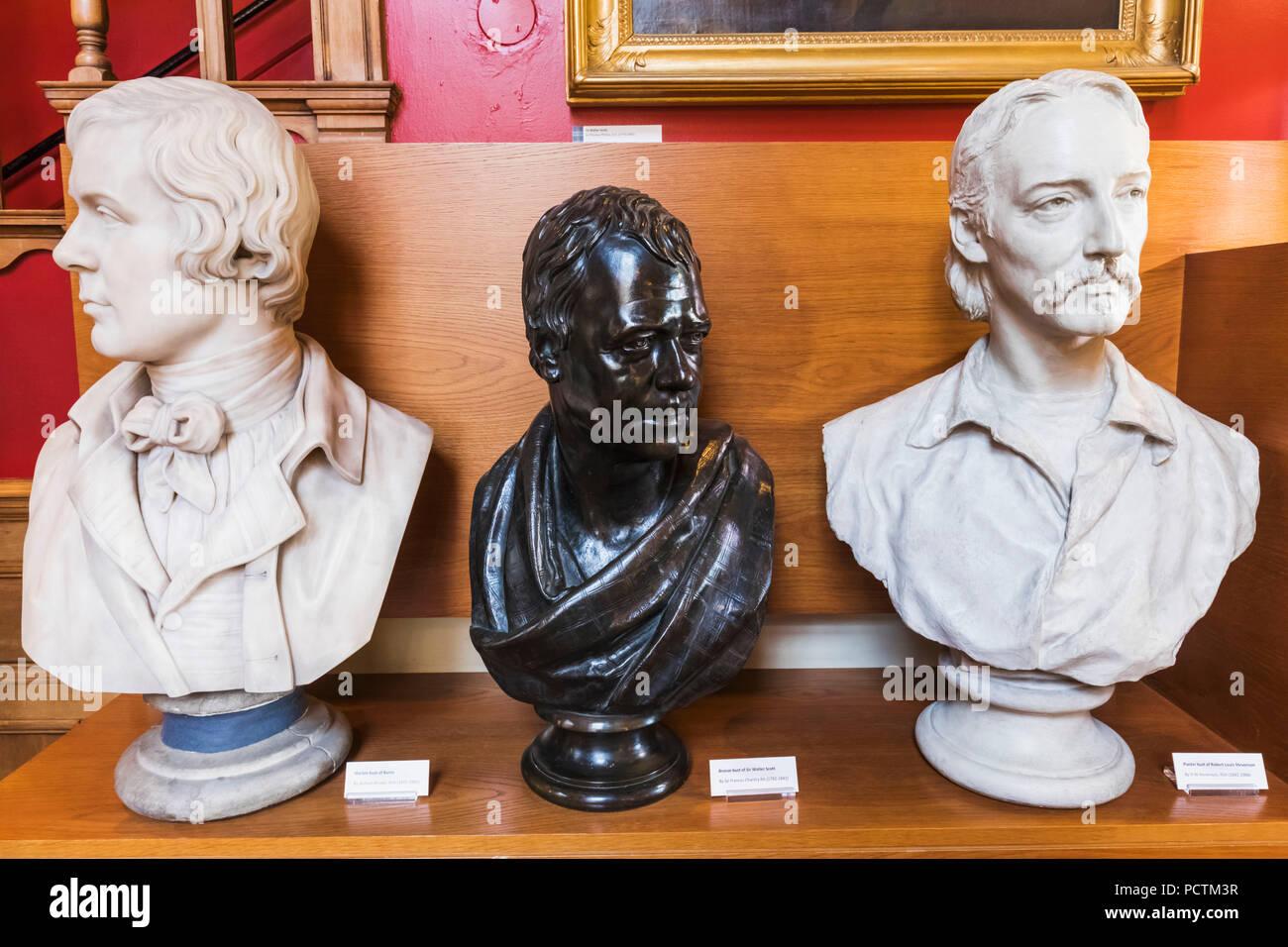 Great Britain, Scotland, Edinburgh, The Writers' Museum, Busts of Robert Burns and Robert Louis Stevenson and Sir Walter Scott - Stock Image
