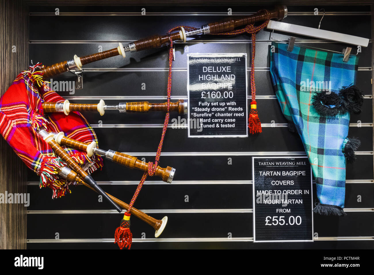 Great Britain, Scotland, Edinburgh, The Royal Mile, The Tartan Weaving Mill Store, Bagpipes - Stock Image
