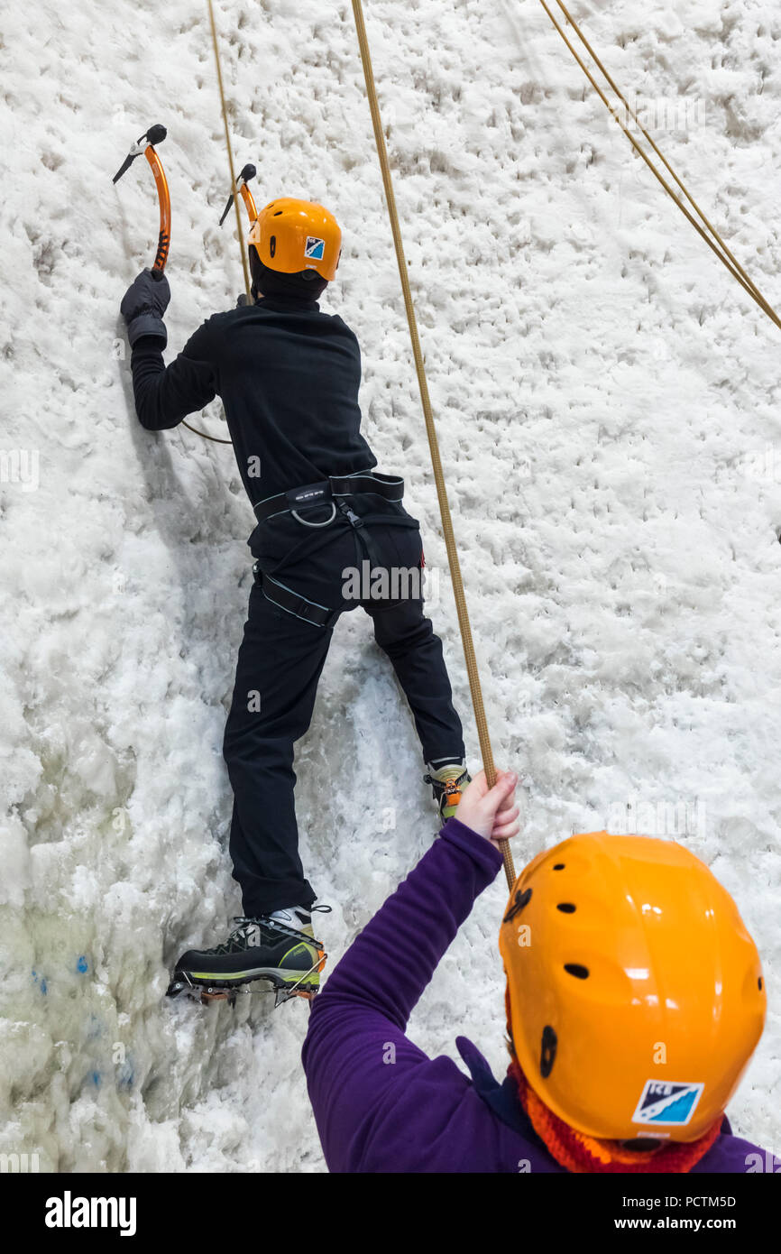 Great Britain, Scotland, Scottish Highlands, Kinlochleven, The Ice Factor Attraction, People Ice Climbing - Stock Image