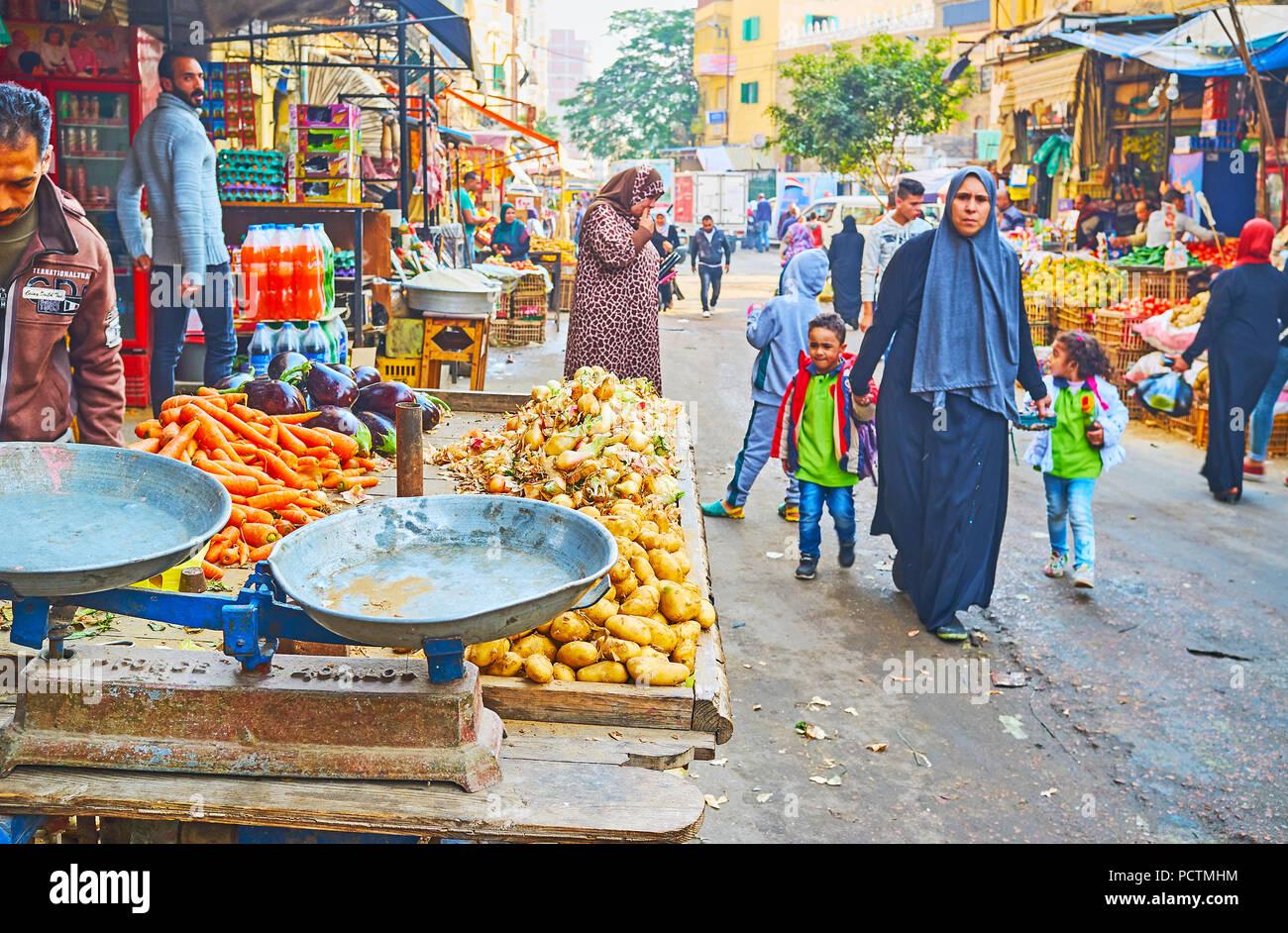 ALEXANDRIA, EGYPT - DECEMBER 18, 2017: The local families