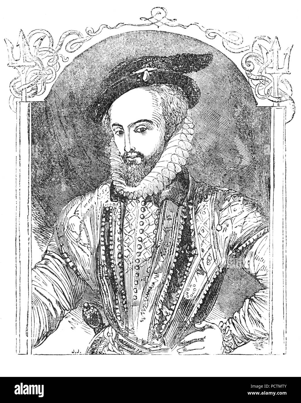 A Portrait of Sir Walter Raleigh (1554-1618) was an English landed gentleman, writer, poet, soldier, politician, courtier, spy and explorer. He  became a favourite of Queen Elizabeth I and in 1585, was knighted and appointed warden of the stannaries - the tin mines of Cornwall and Devon, Lord Lieutenant of Cornwall, and vice-admiral of the two counties. He sat in parliament as member for Devonshire in 1585 and 1586.  In the Armada year of 1588, Raleigh had some involvement with defence against the Spanish at Devon when his ship, the Ark Raleigh, became Lord High Admiral Howard's flagship. - Stock Image